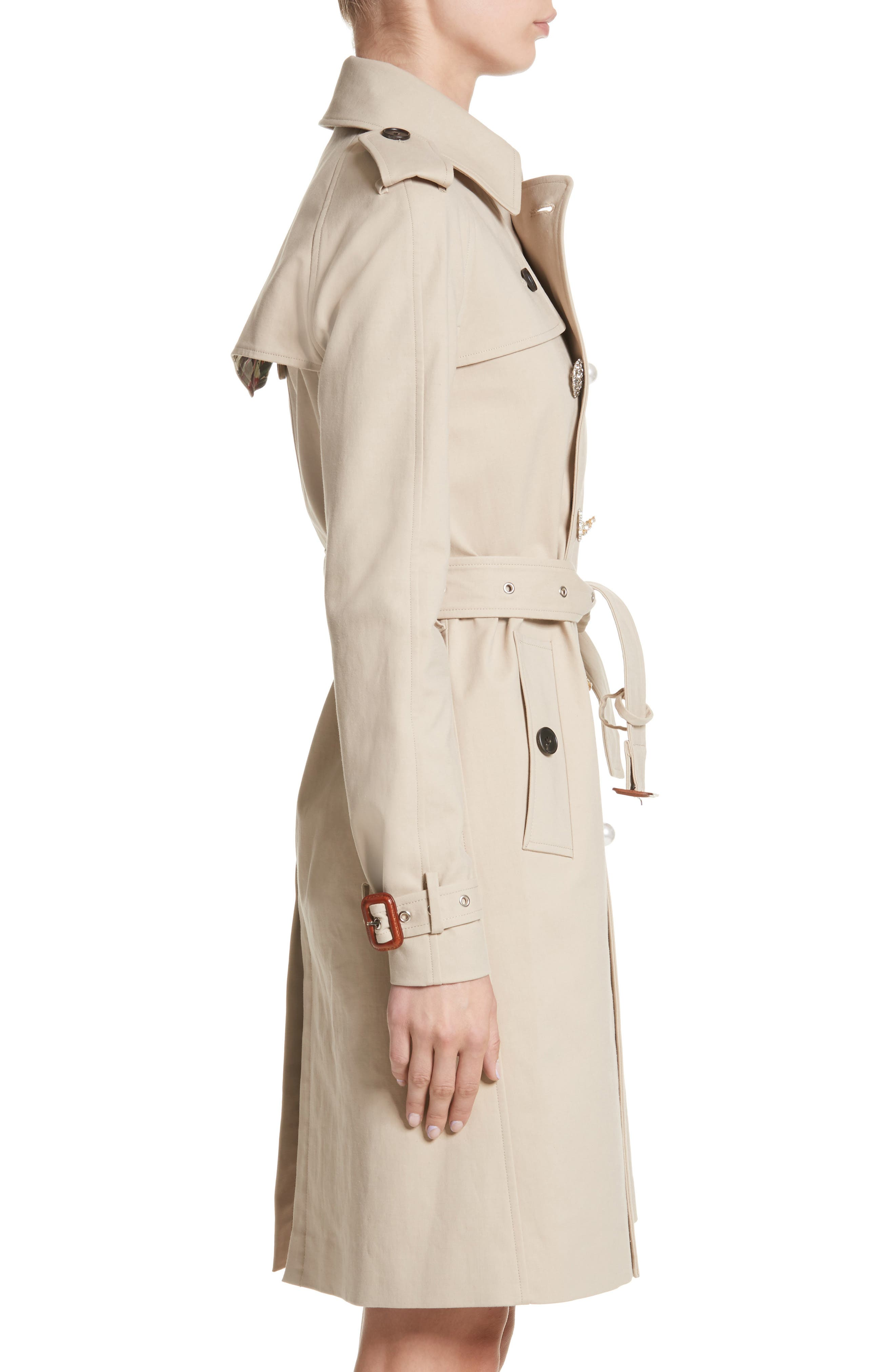 Embellished Button Trench Coat,                             Alternate thumbnail 3, color,                             250