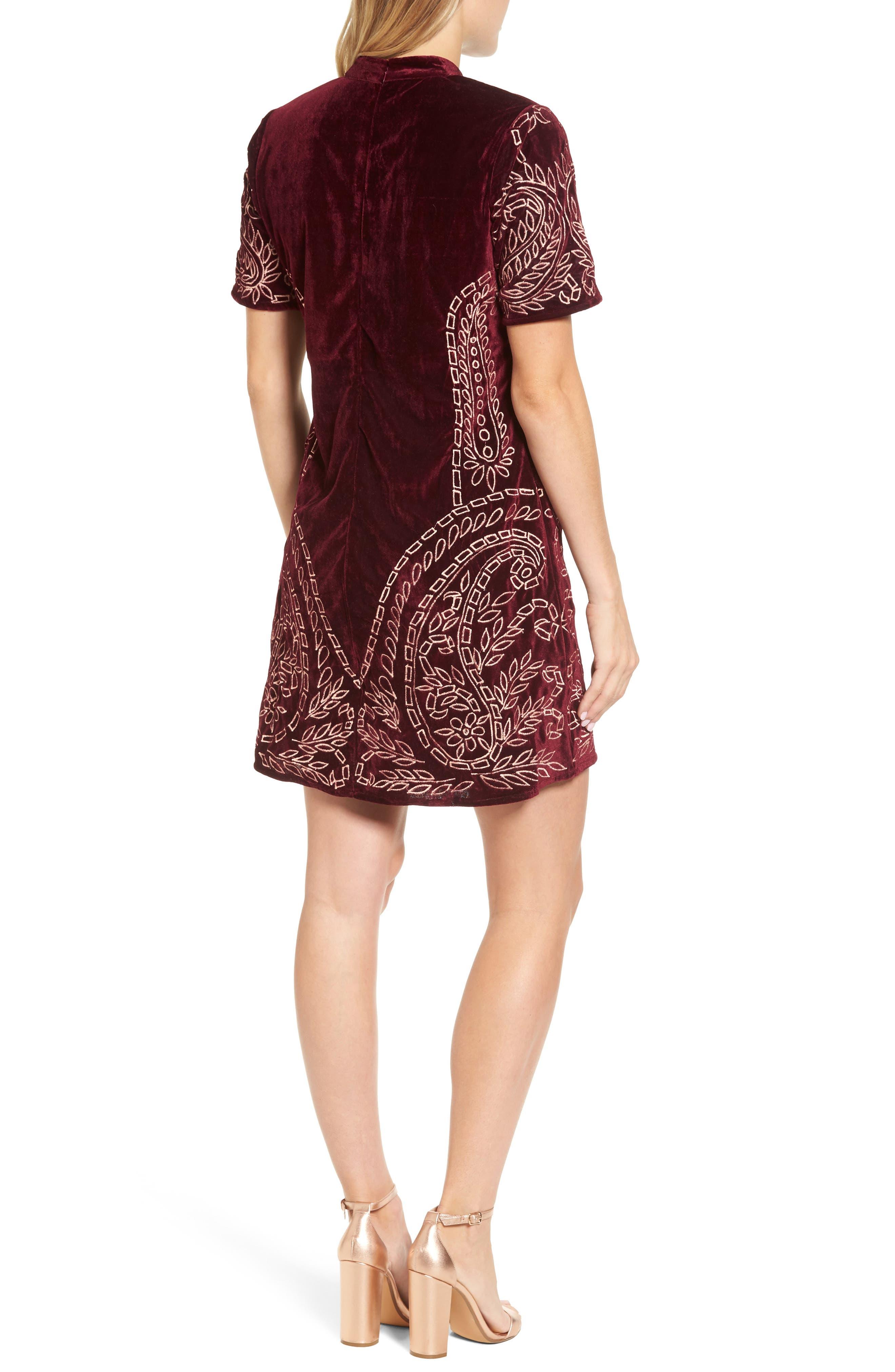 Lily Embroidered Velvet Shift Dress,                             Alternate thumbnail 2, color,