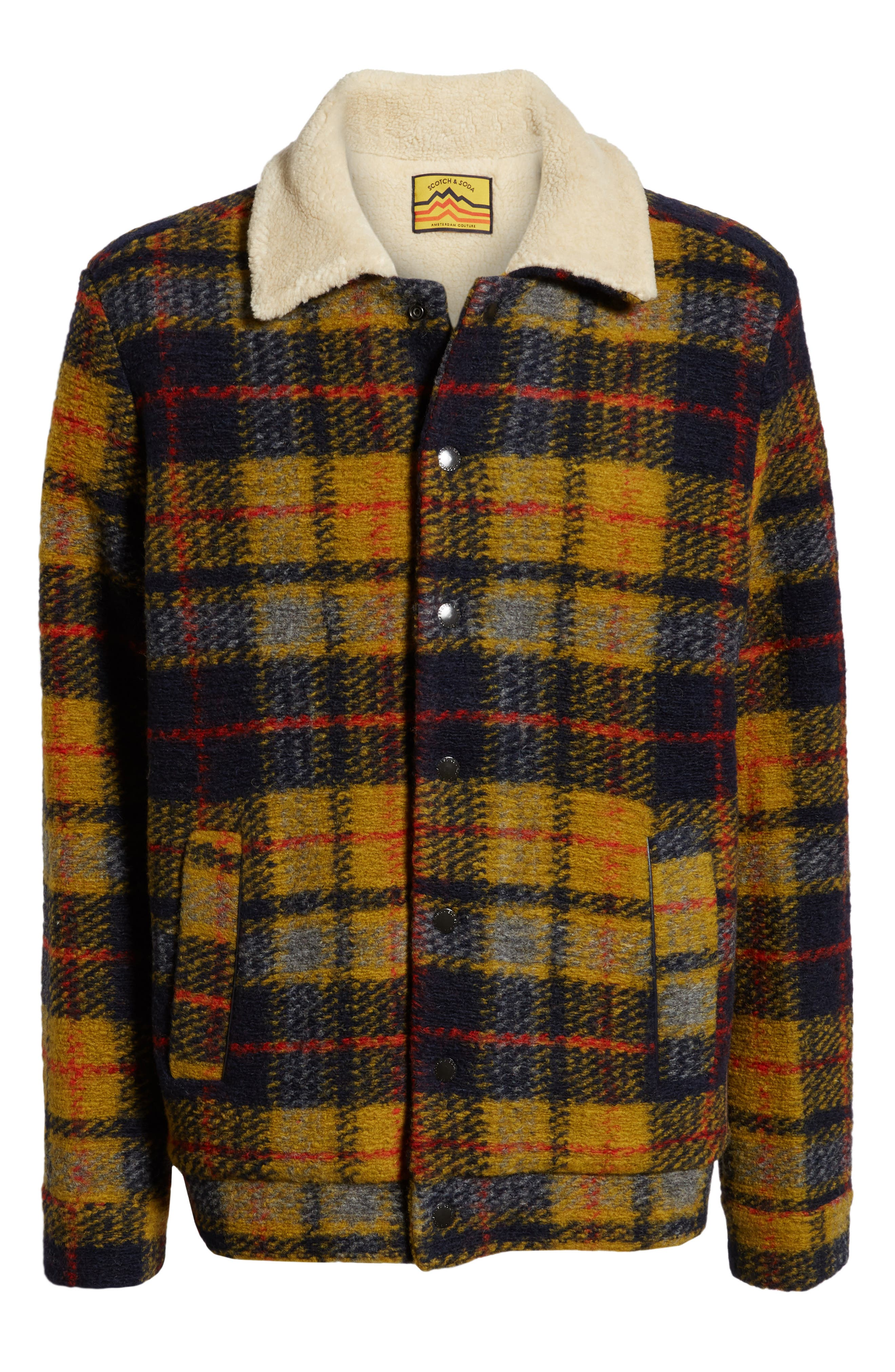 Plaid Faux Shearling Lined Wool Blend Trucker Jacket,                             Alternate thumbnail 6, color,                             COMBO A