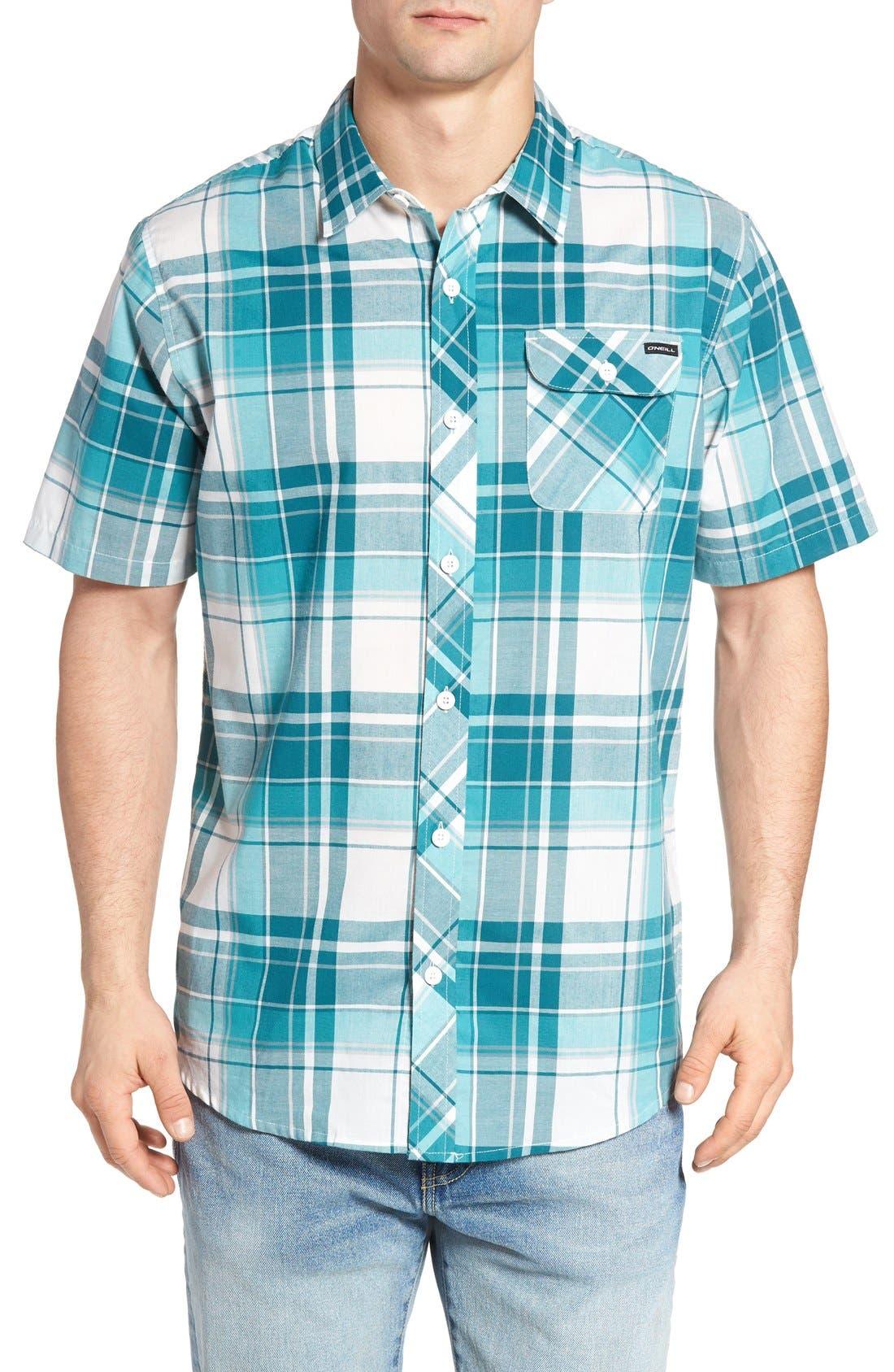Plaid Woven Shirt,                             Main thumbnail 1, color,                             INK