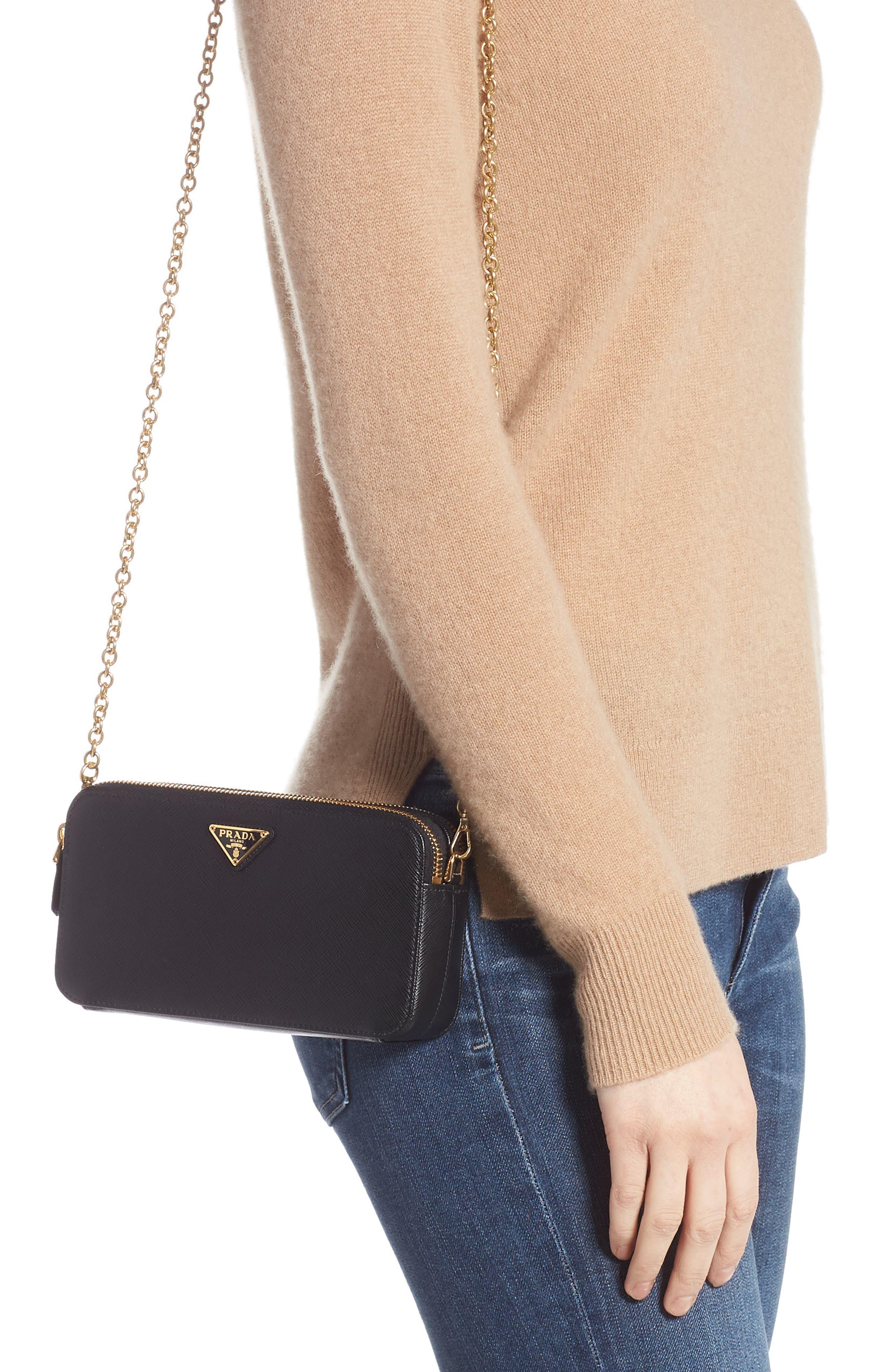 Small Double Compartment Zip Saffiano Leather Crossbody Bag,                             Alternate thumbnail 2, color,                             NERO