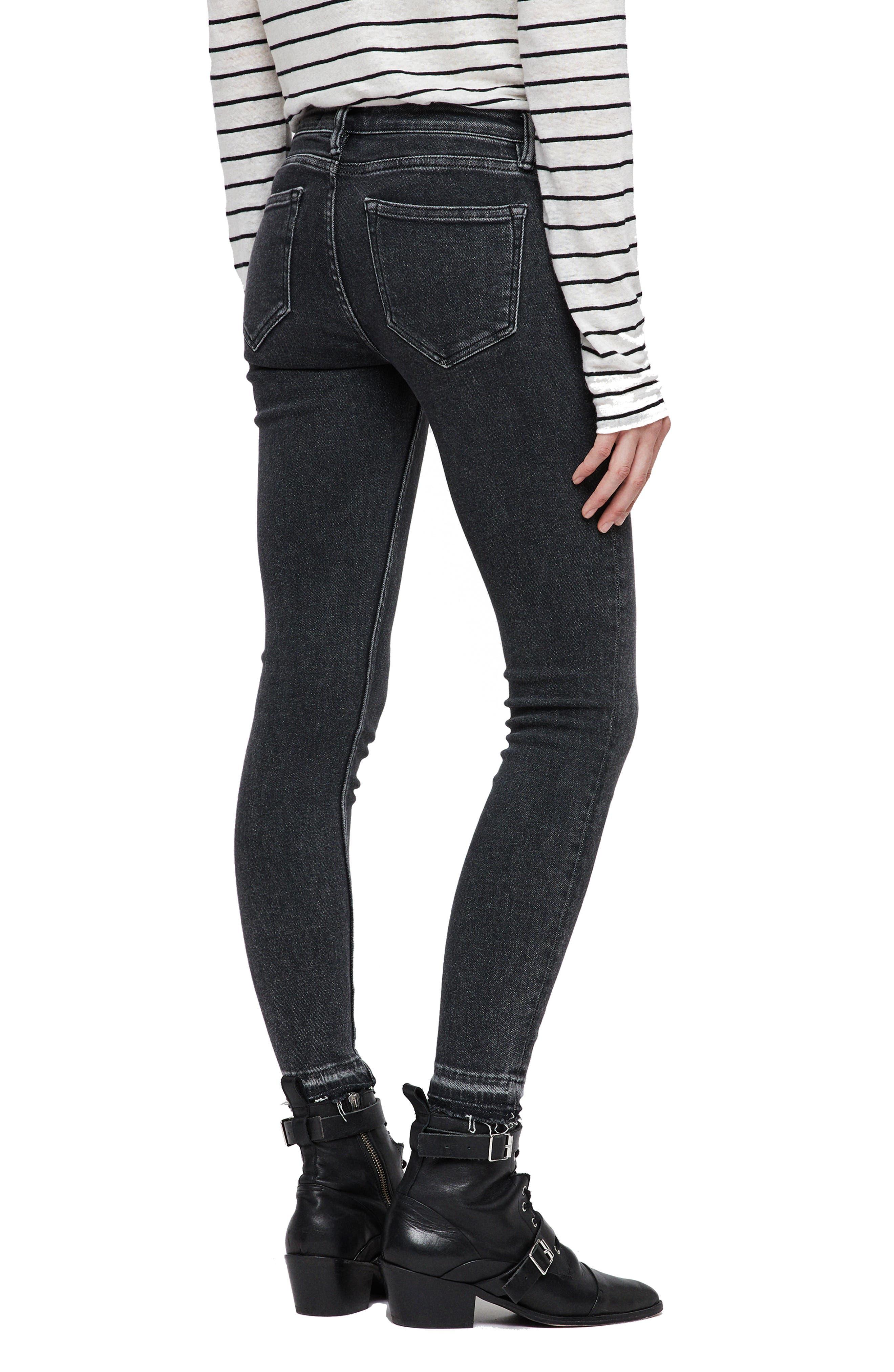 Mast Ankle Skinny Jeans,                             Alternate thumbnail 3, color,                             WASHED BLACK