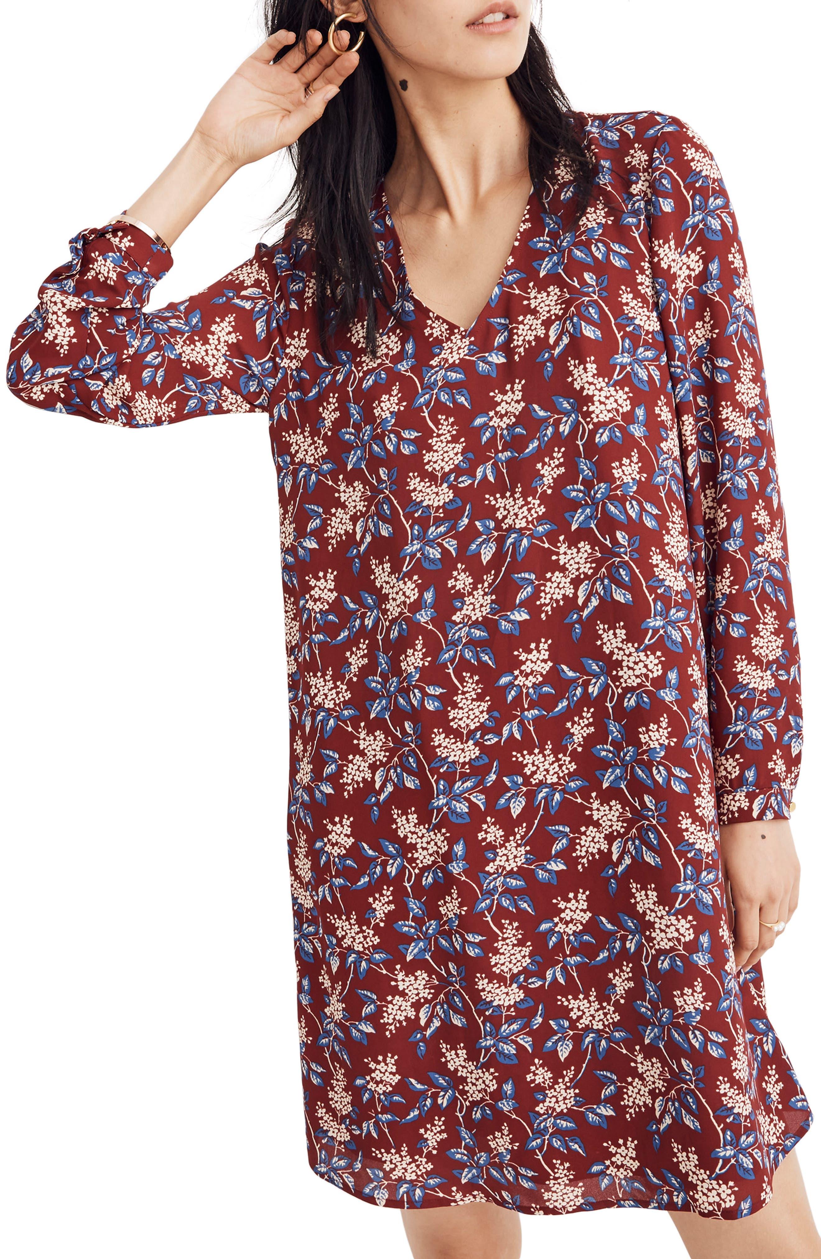 Antique Flora Button Back Dress,                             Main thumbnail 1, color,                             DUSTY BURGUNDY