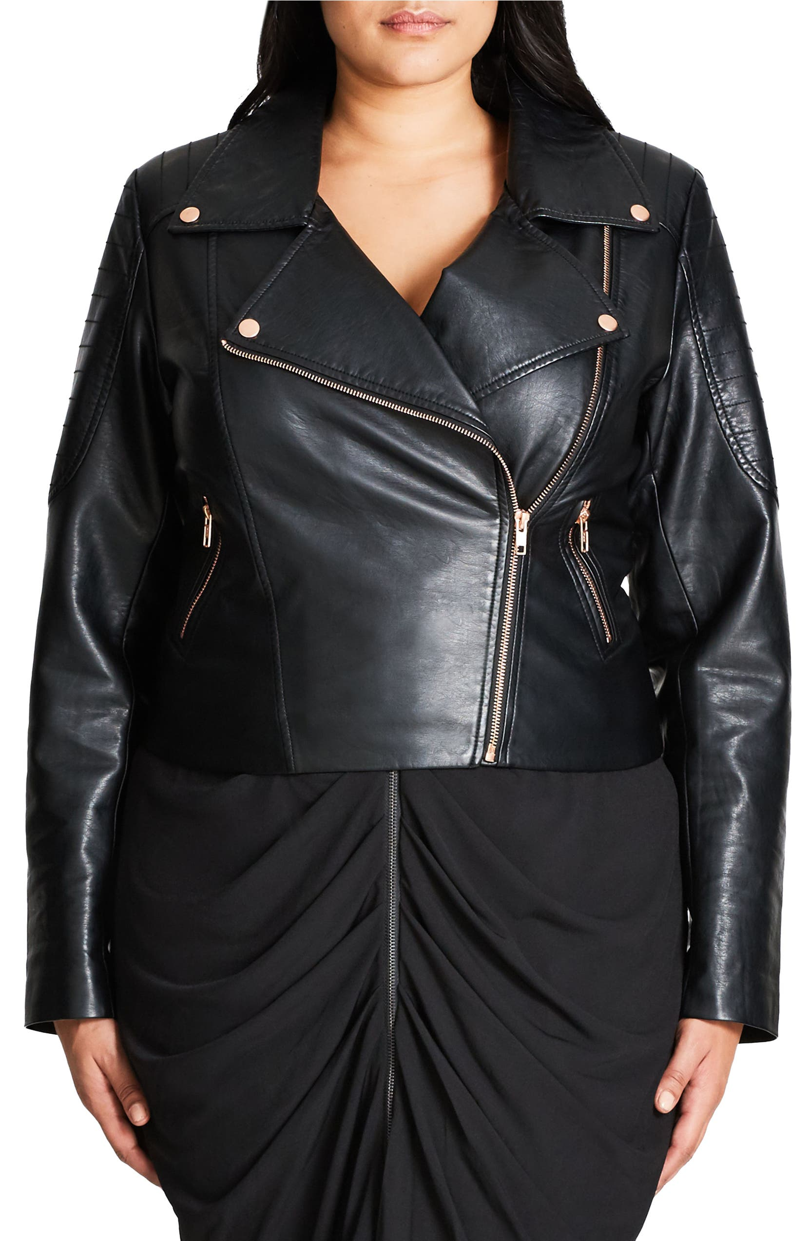 26931b2aaeb City Chic Faux Leather Biker Jacket (Plus Size)