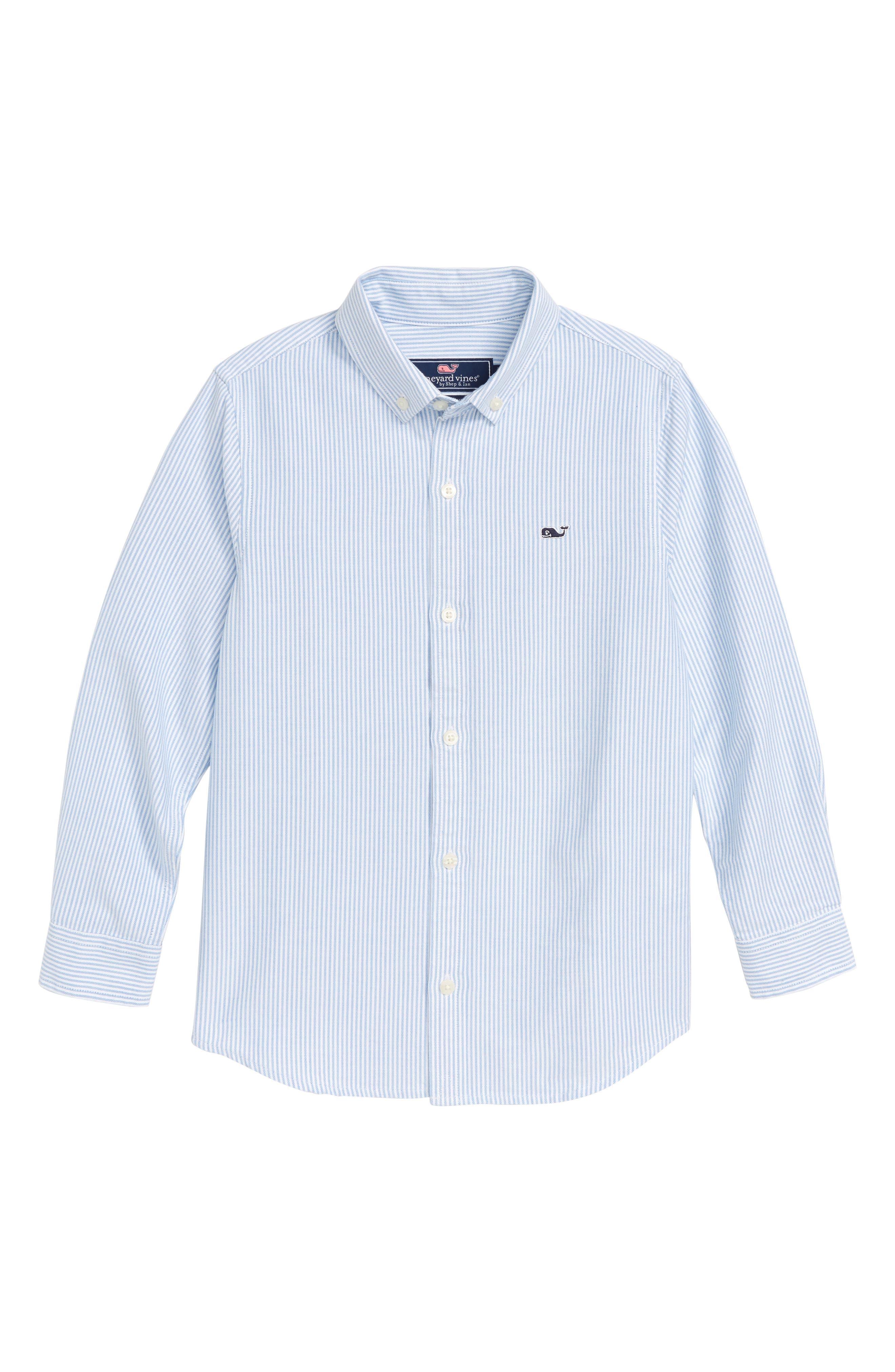 Fine Line Stripe Oxford Shirt,                         Main,                         color, HYDRANGEA