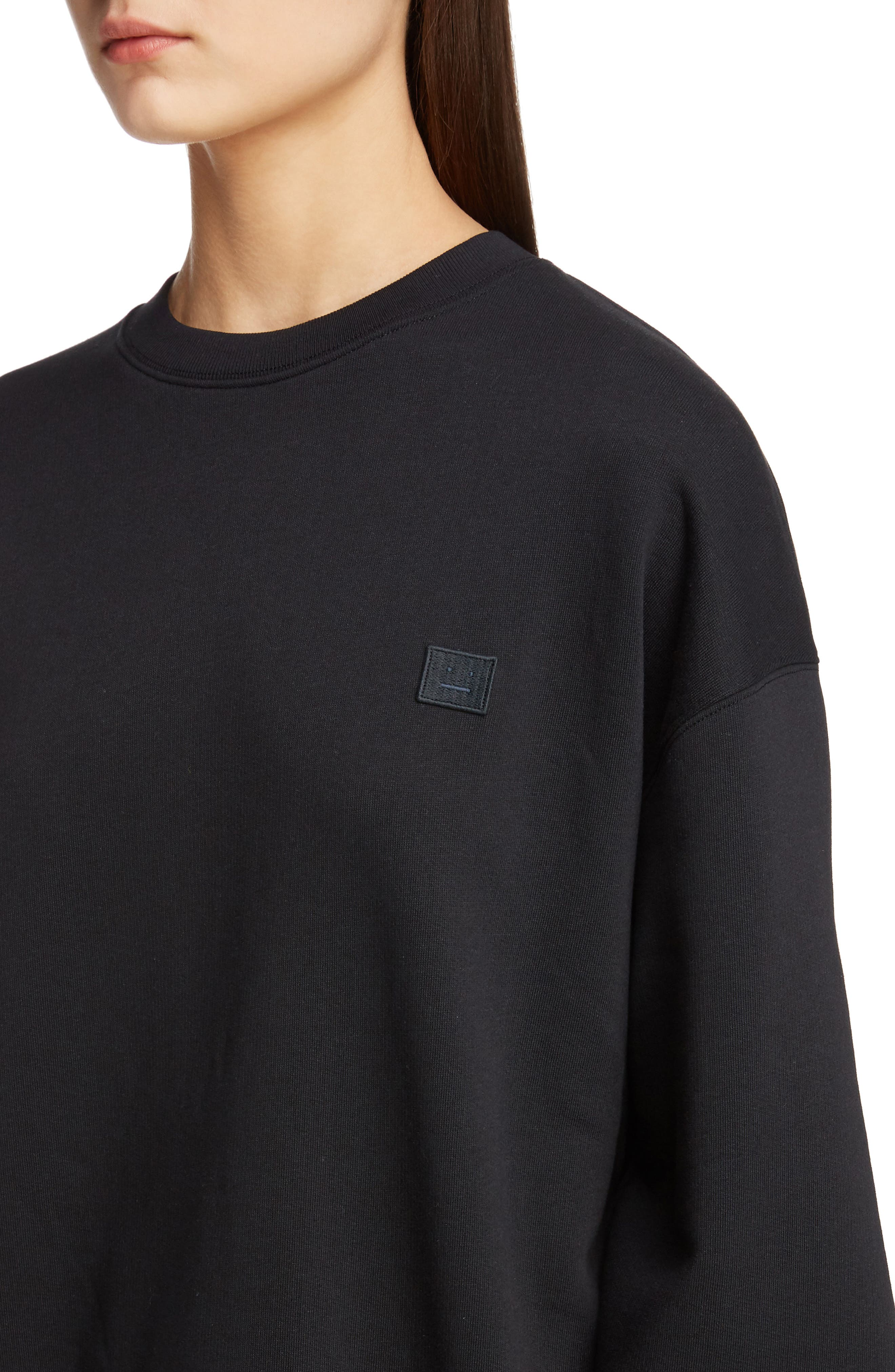 ACNE STUDIOS,                             Forba Face Sweatshirt,                             Alternate thumbnail 4, color,                             BLACK