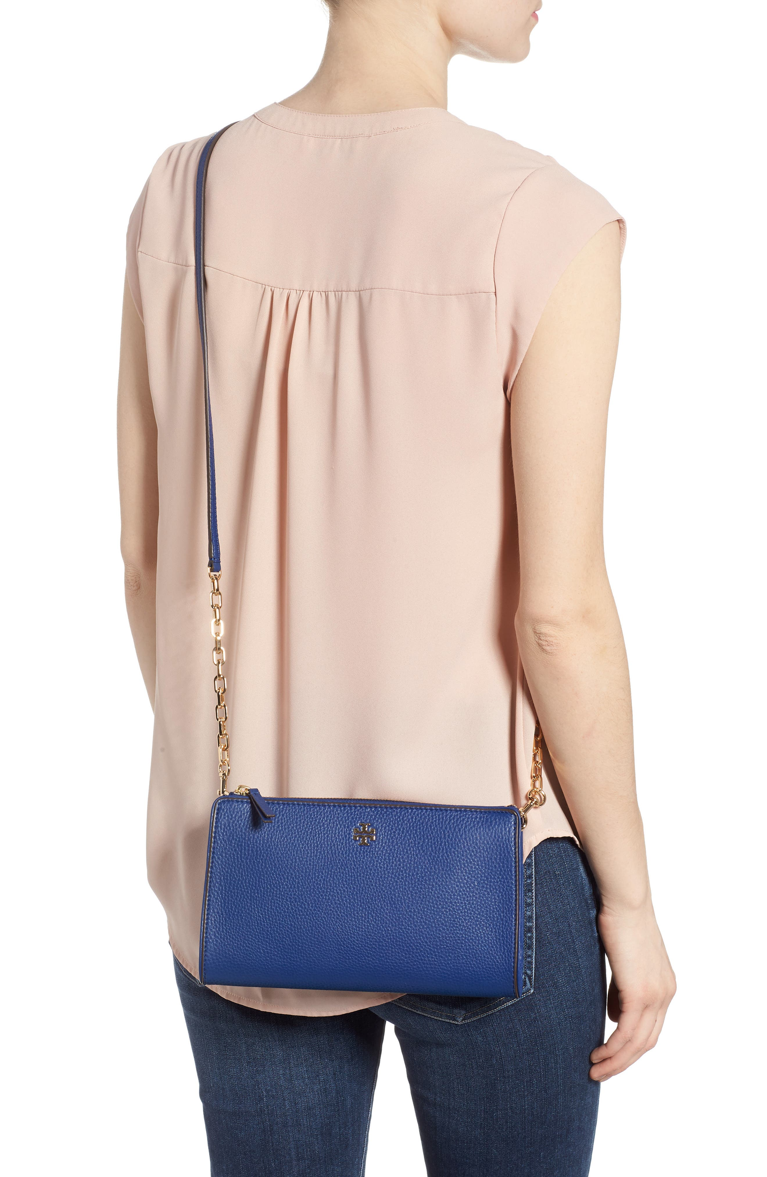 Marsden Leather Wallet Crossbody Bag,                             Alternate thumbnail 2, color,                             FRESH BLUEBERRY