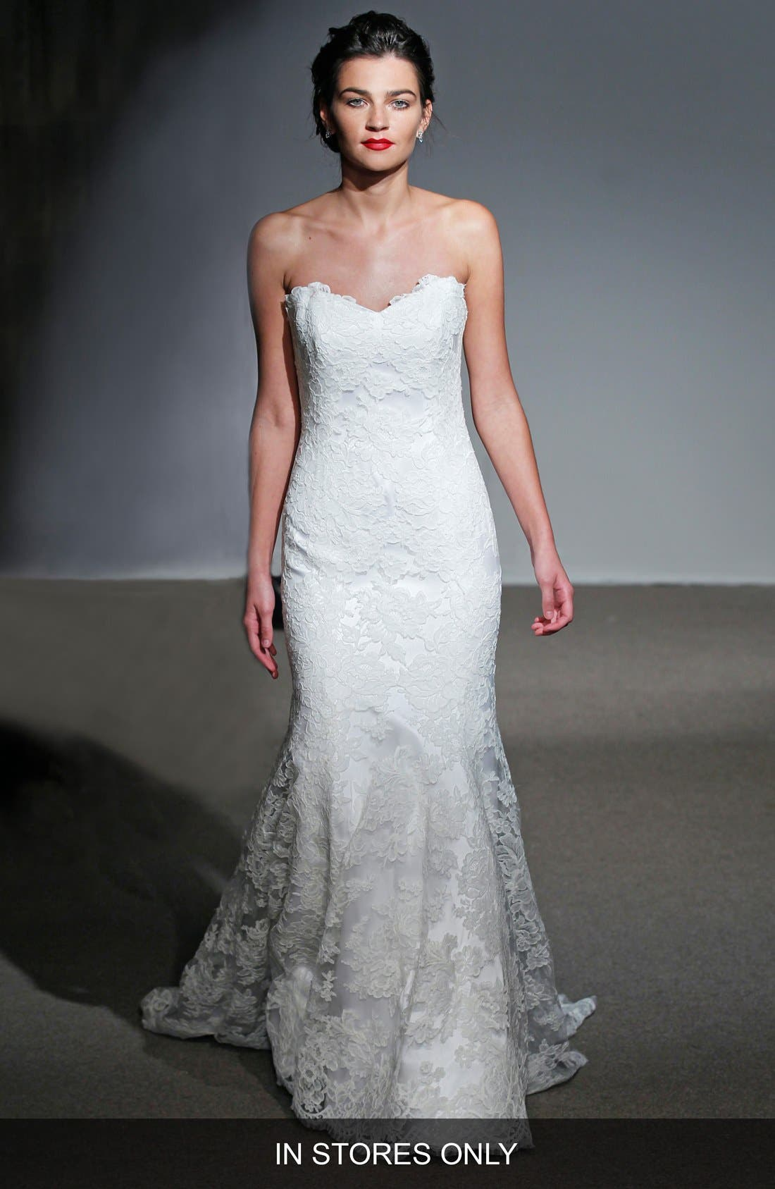 ANNA MAIER COUTURE,                             Mirielle Strapless Corded Lace Trumpet Gown,                             Main thumbnail 1, color,                             100