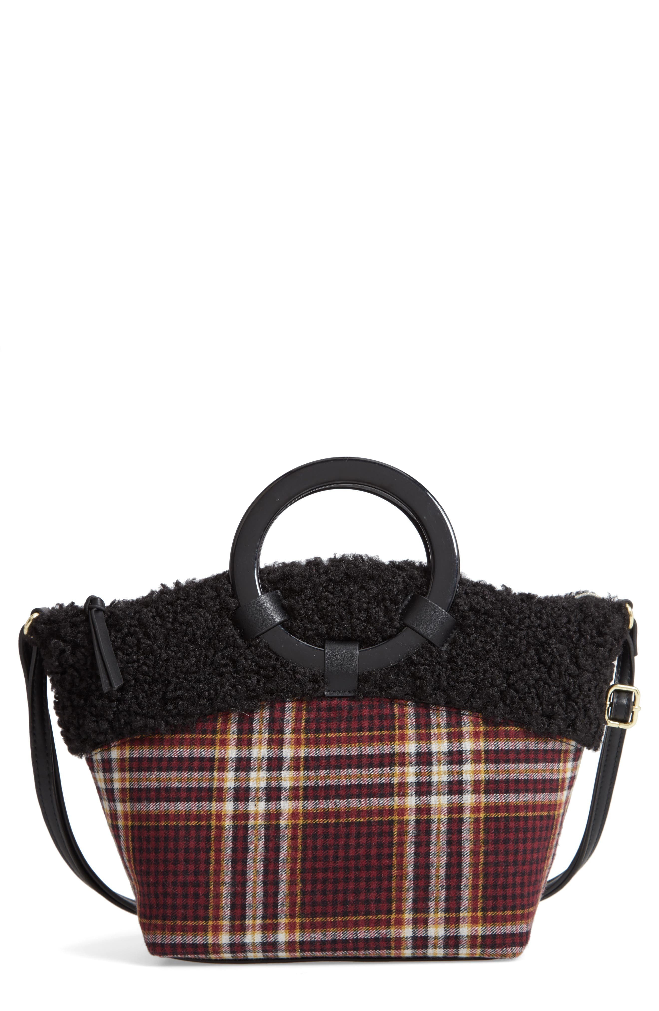 Ring Handle Plaid Tote with Faux Shearling Trim,                         Main,                         color, 605