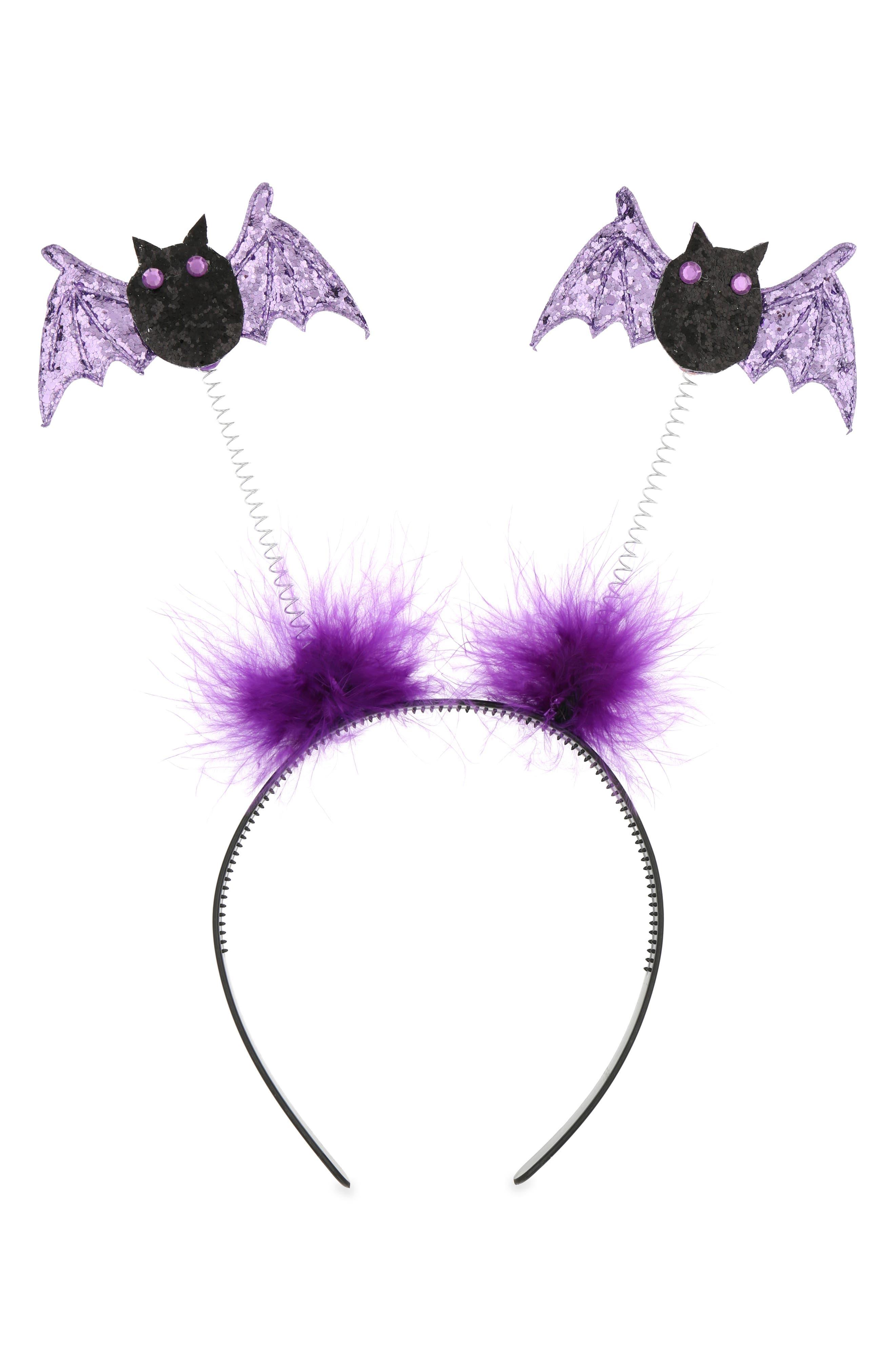 Glittery Bat Headband,                             Main thumbnail 1, color,                             PURPLE COMBO