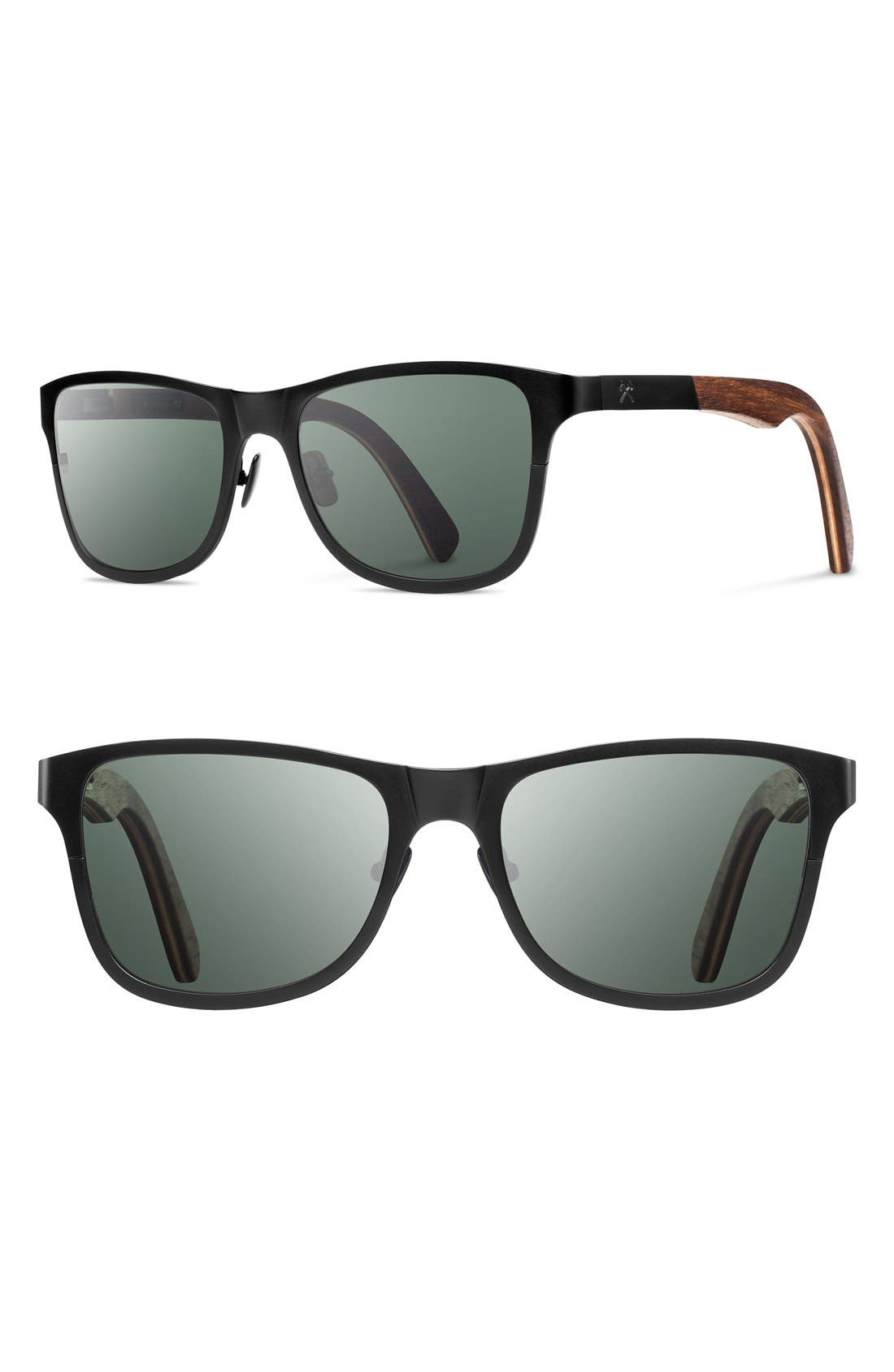 'Canby' 54mm Polarized Titanium & Wood Sunglasses,                         Main,                         color, BLACK/ WALNUT