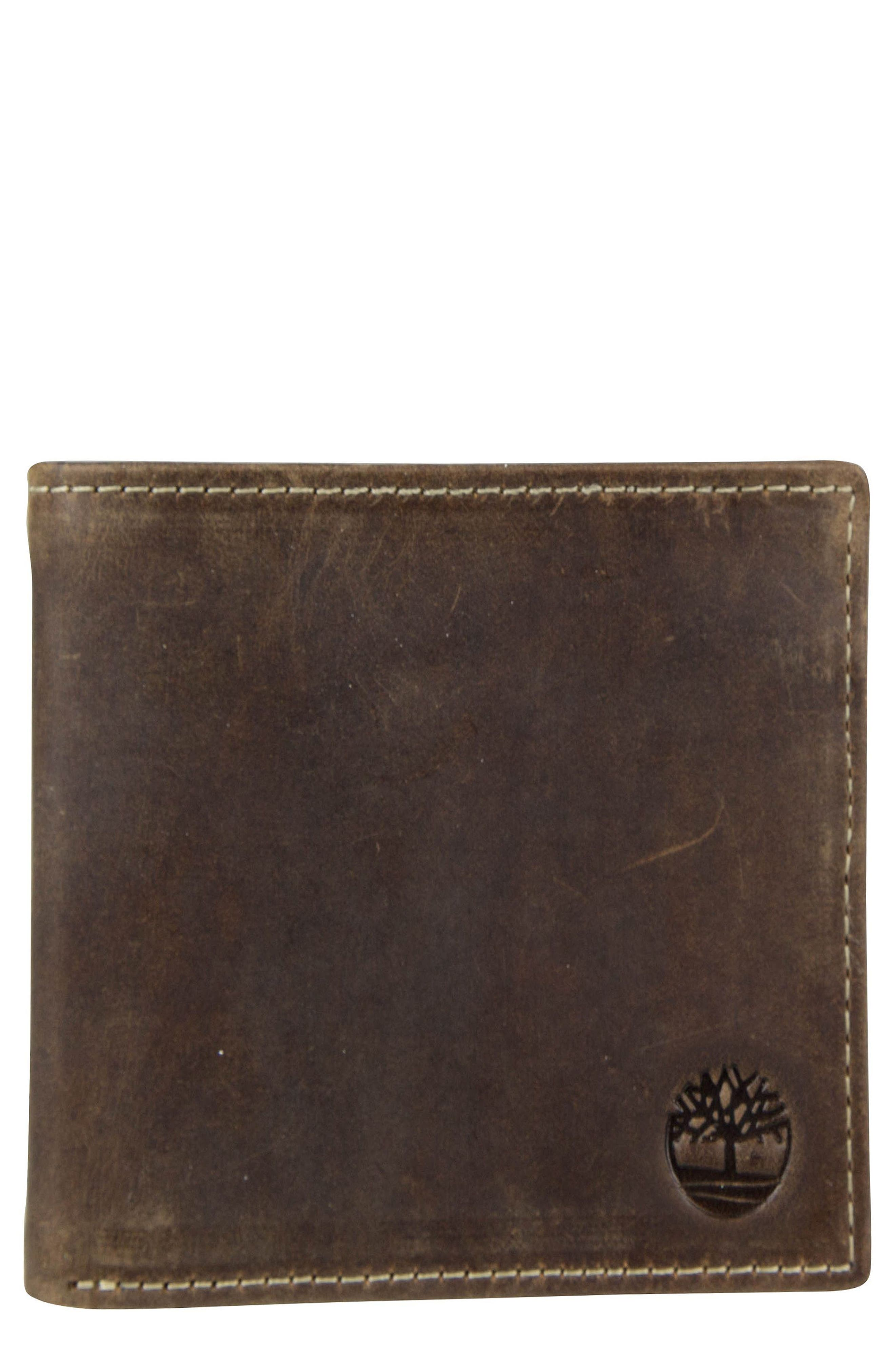 TIMBERLAND Distressed Leather Wallet, Main, color, 200