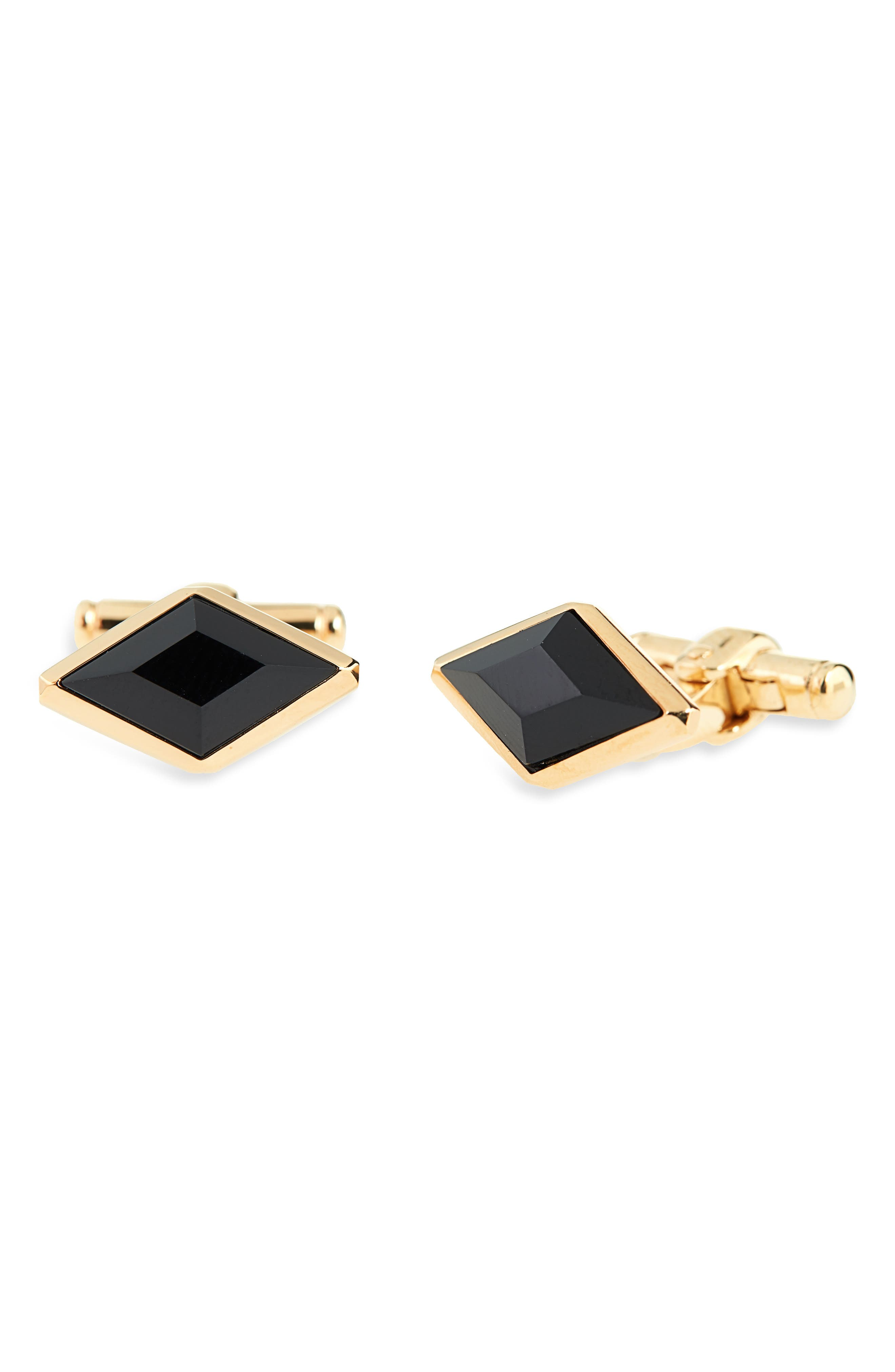 Onyx Cuff Links,                         Main,                         color, GOLD