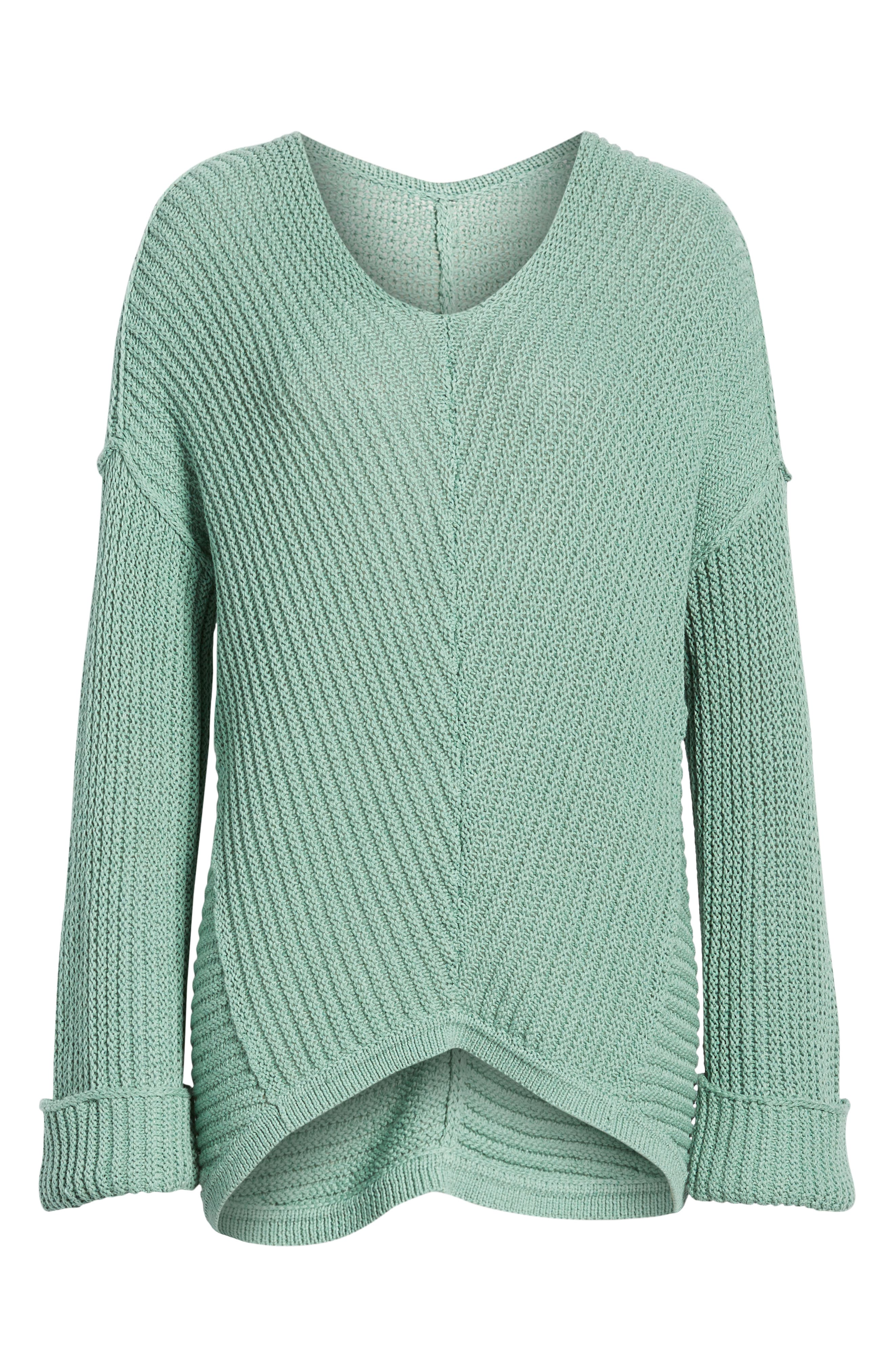 CASLON<SUP>®</SUP>,                             Cuffed Sleeve Sweater,                             Alternate thumbnail 6, color,                             GREEN WING