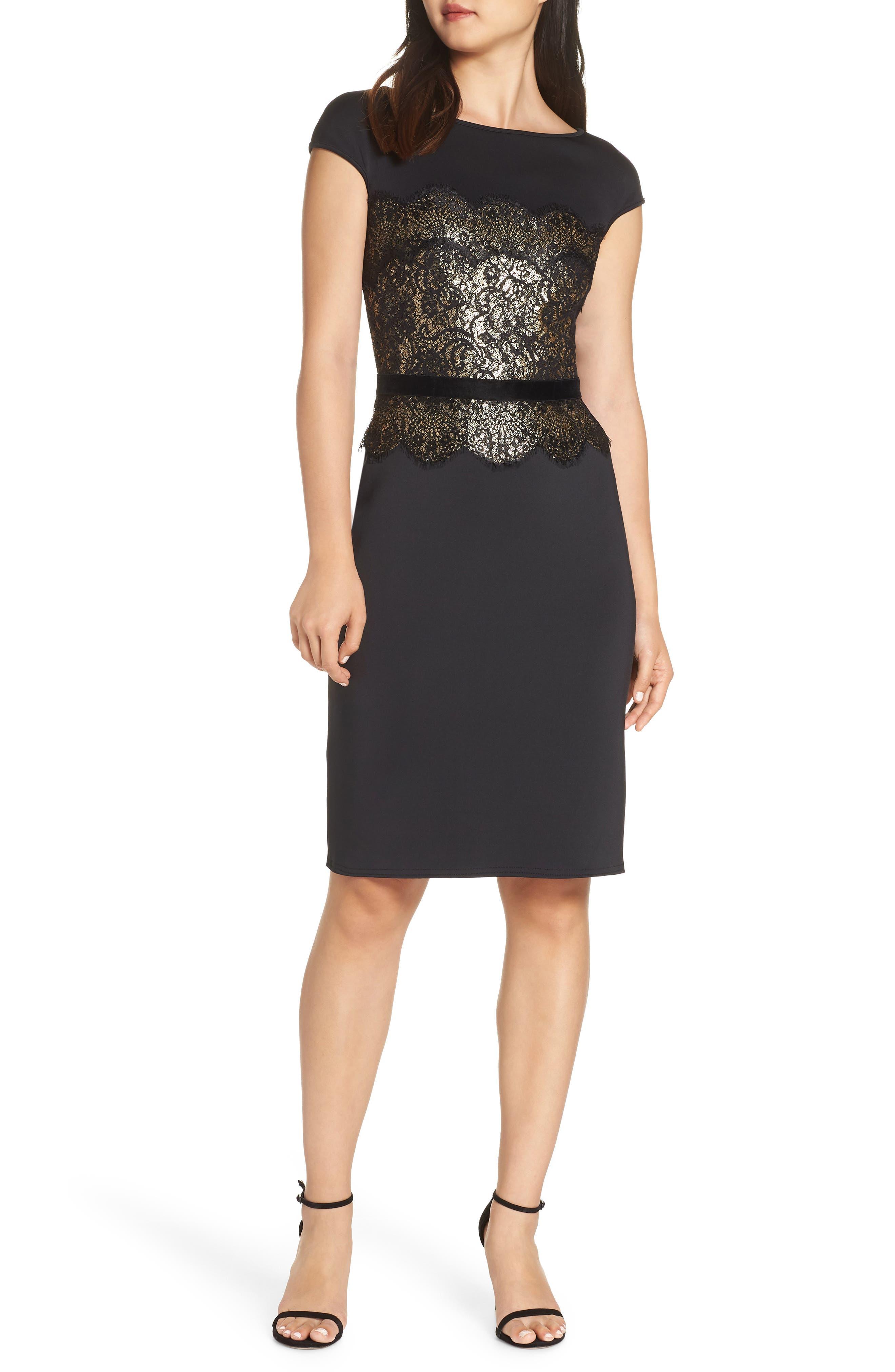 Lace Inset Scuba Dress,                             Main thumbnail 1, color,                             BLACK/ GOLD