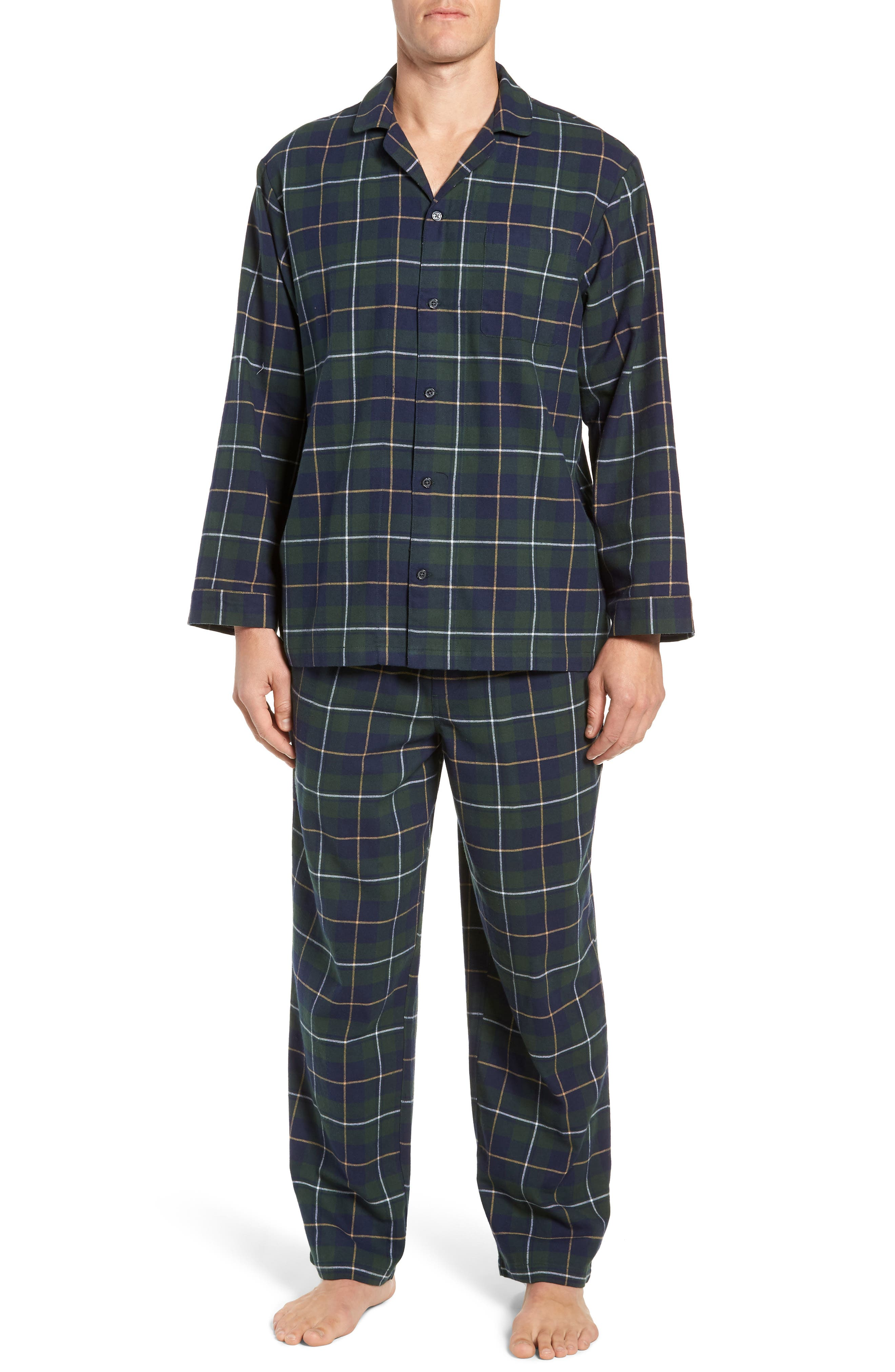 '824' Flannel Pajama Set,                             Main thumbnail 1, color,                             GREEN CHARCOAL FADED PLAID