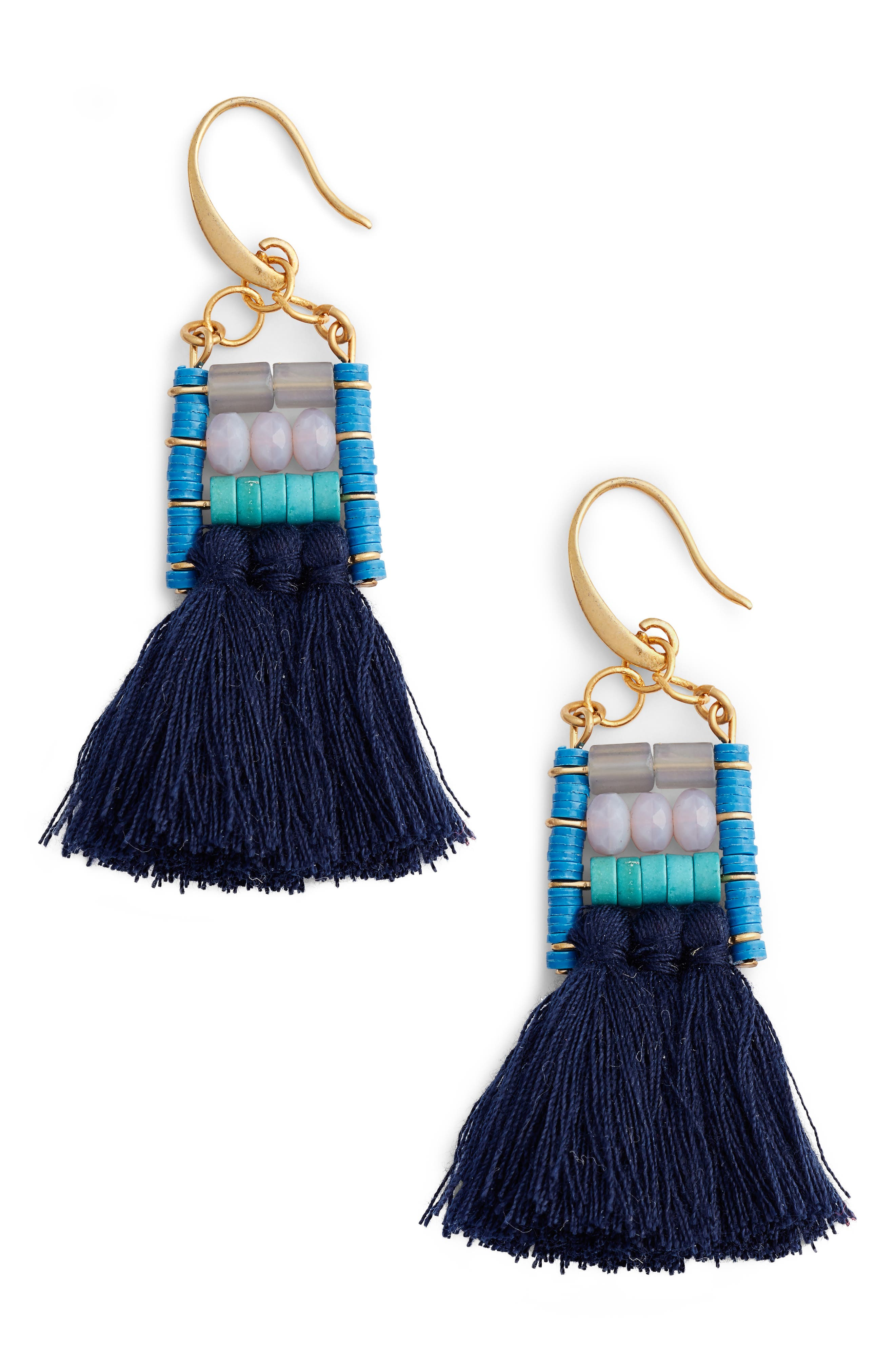 Rylee Beaded Tassel Earrings,                             Main thumbnail 1, color,