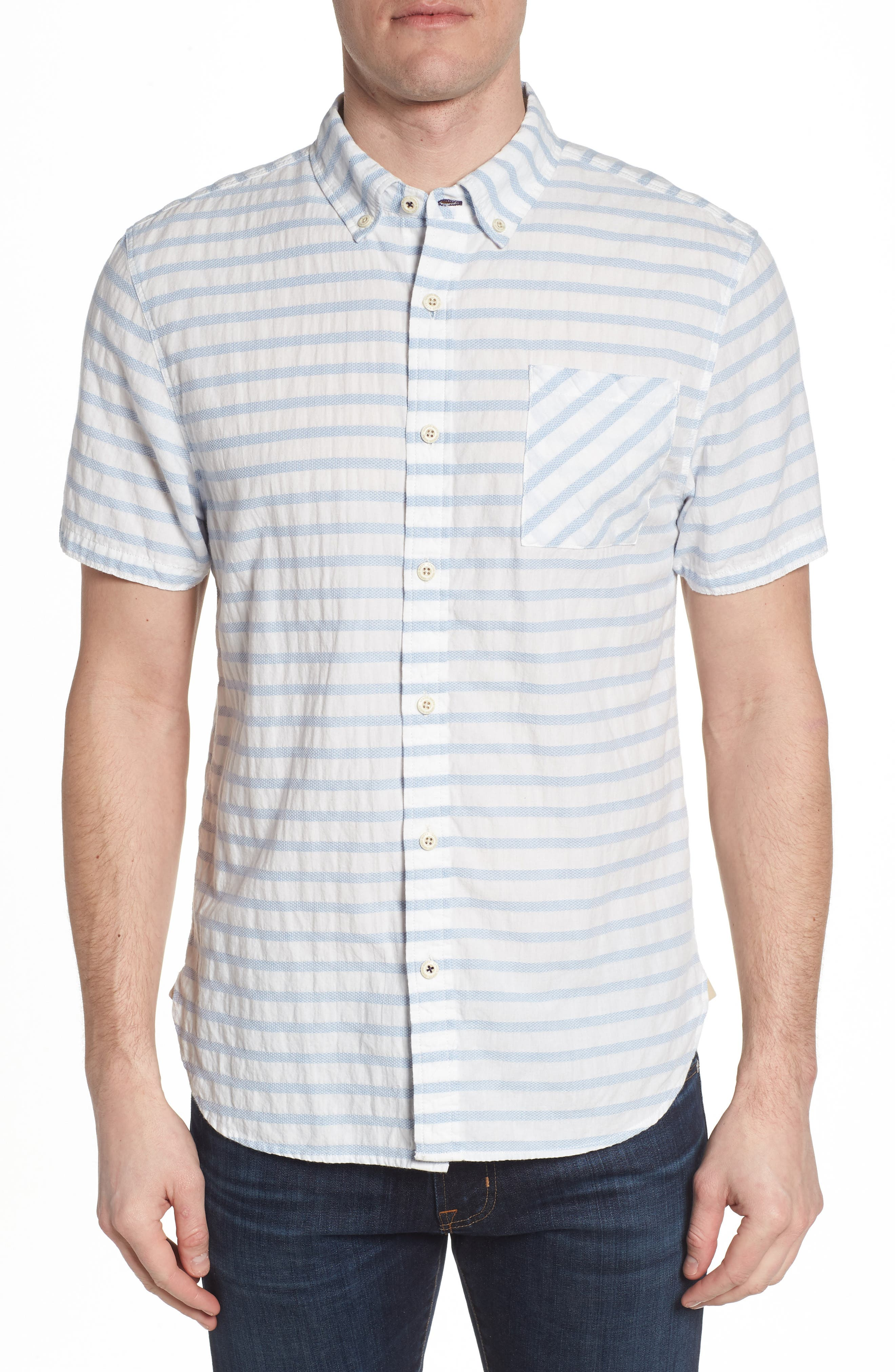 Truman Slim Fit Stripe Sport Shirt,                             Main thumbnail 1, color,                             WHITE/ BLUE