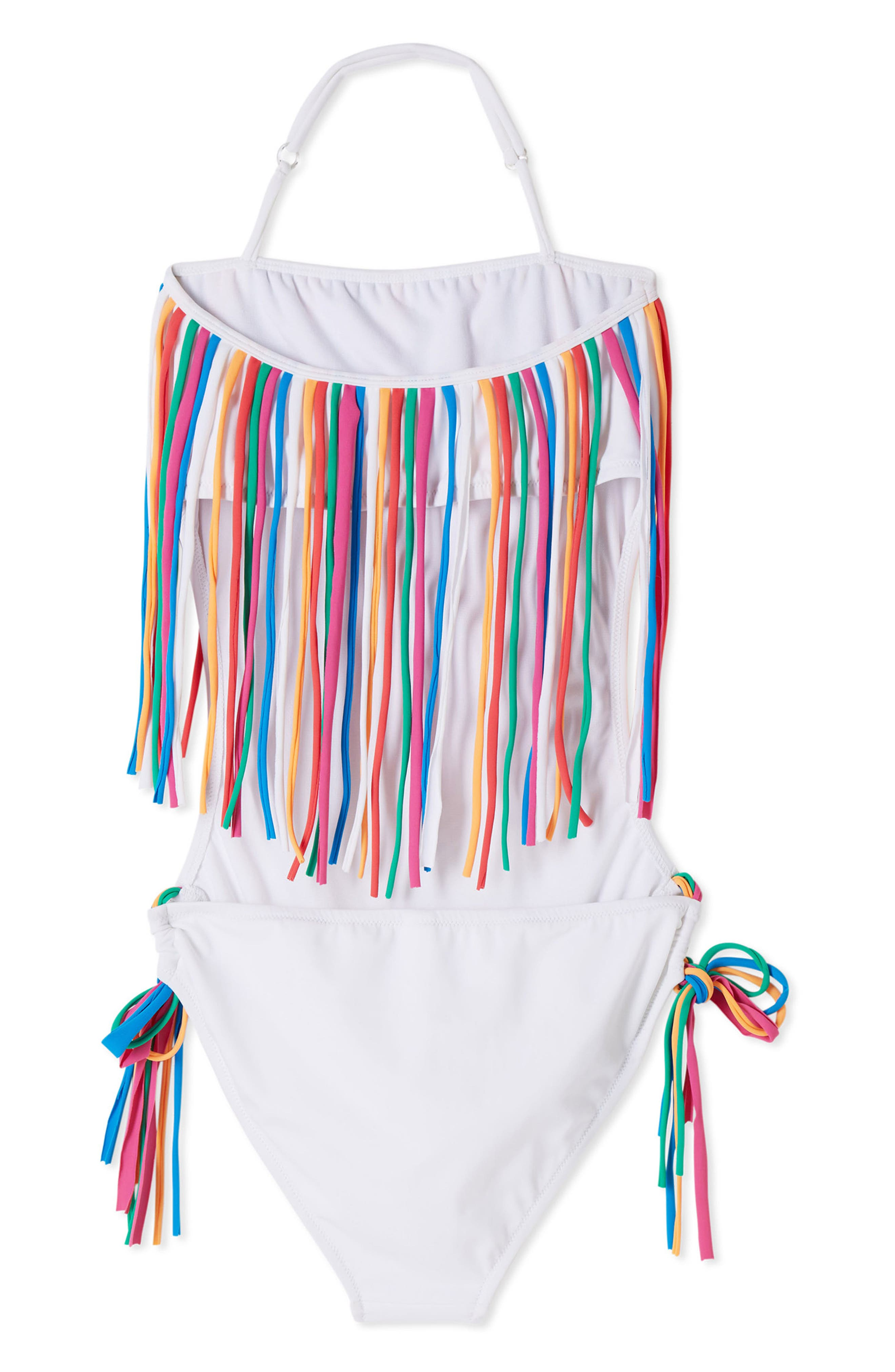 Fringe One-Piece Swimsuit,                             Alternate thumbnail 2, color,                             WHITE