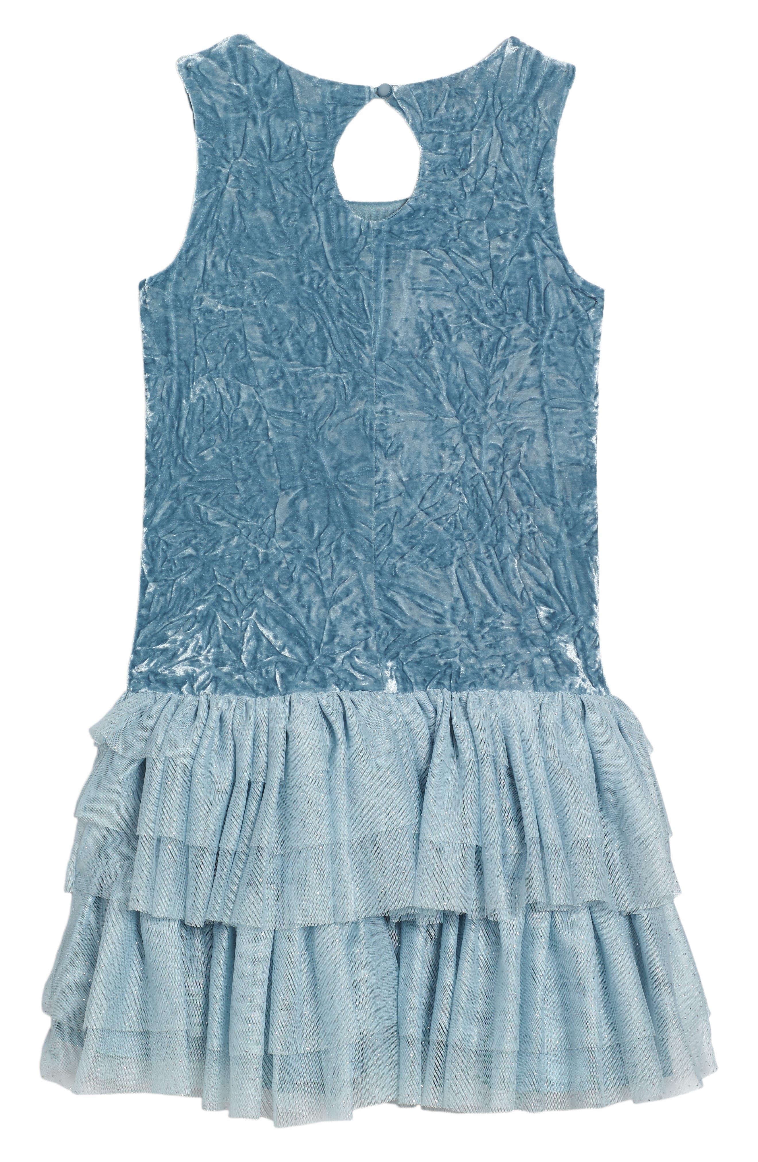 Crushed Velvet & Tulle Dress,                             Alternate thumbnail 2, color,                             454
