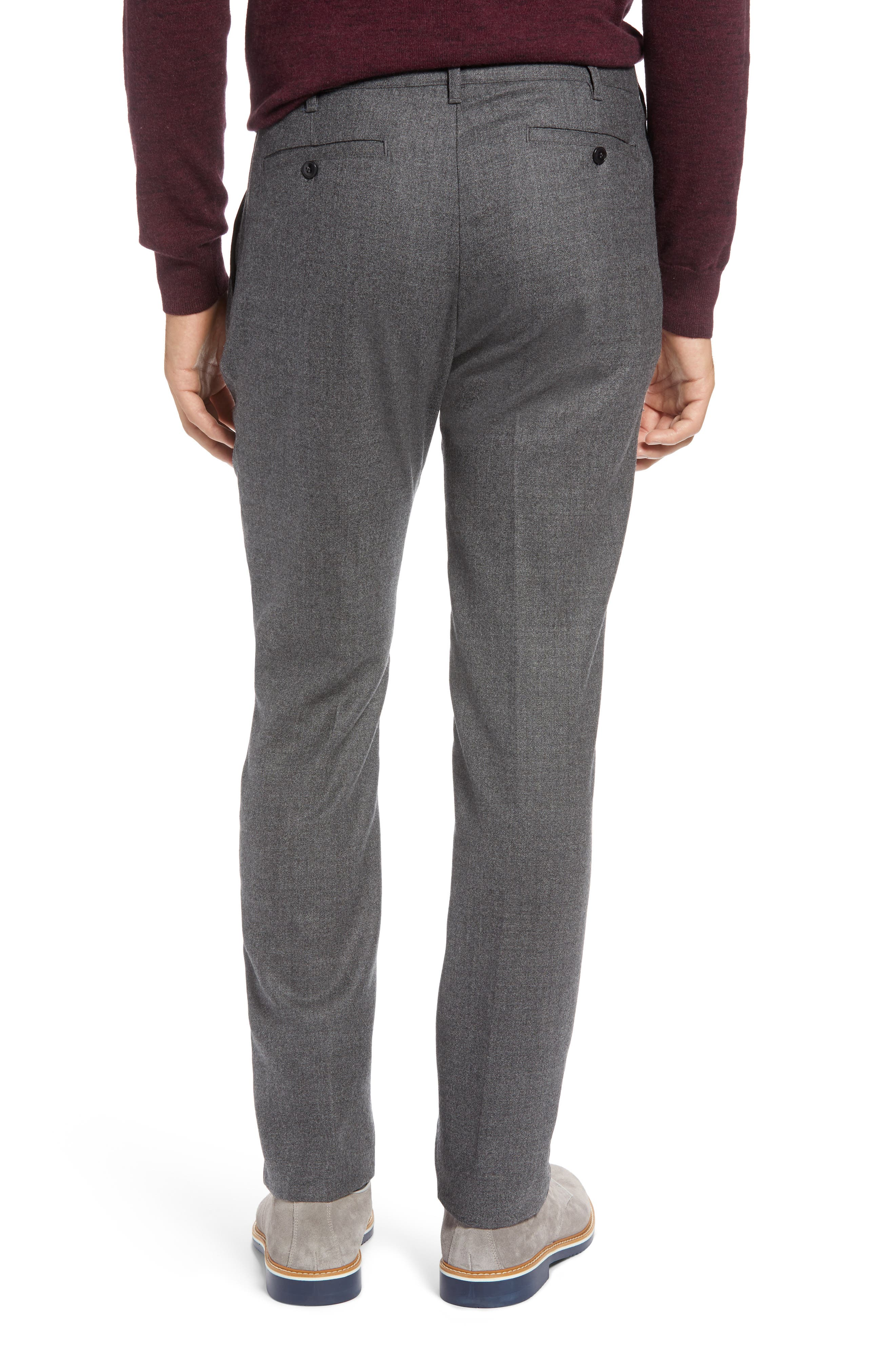 Flat Front Mélange Wool Extra Trim Fit Trousers,                             Alternate thumbnail 2, color,                             GREY