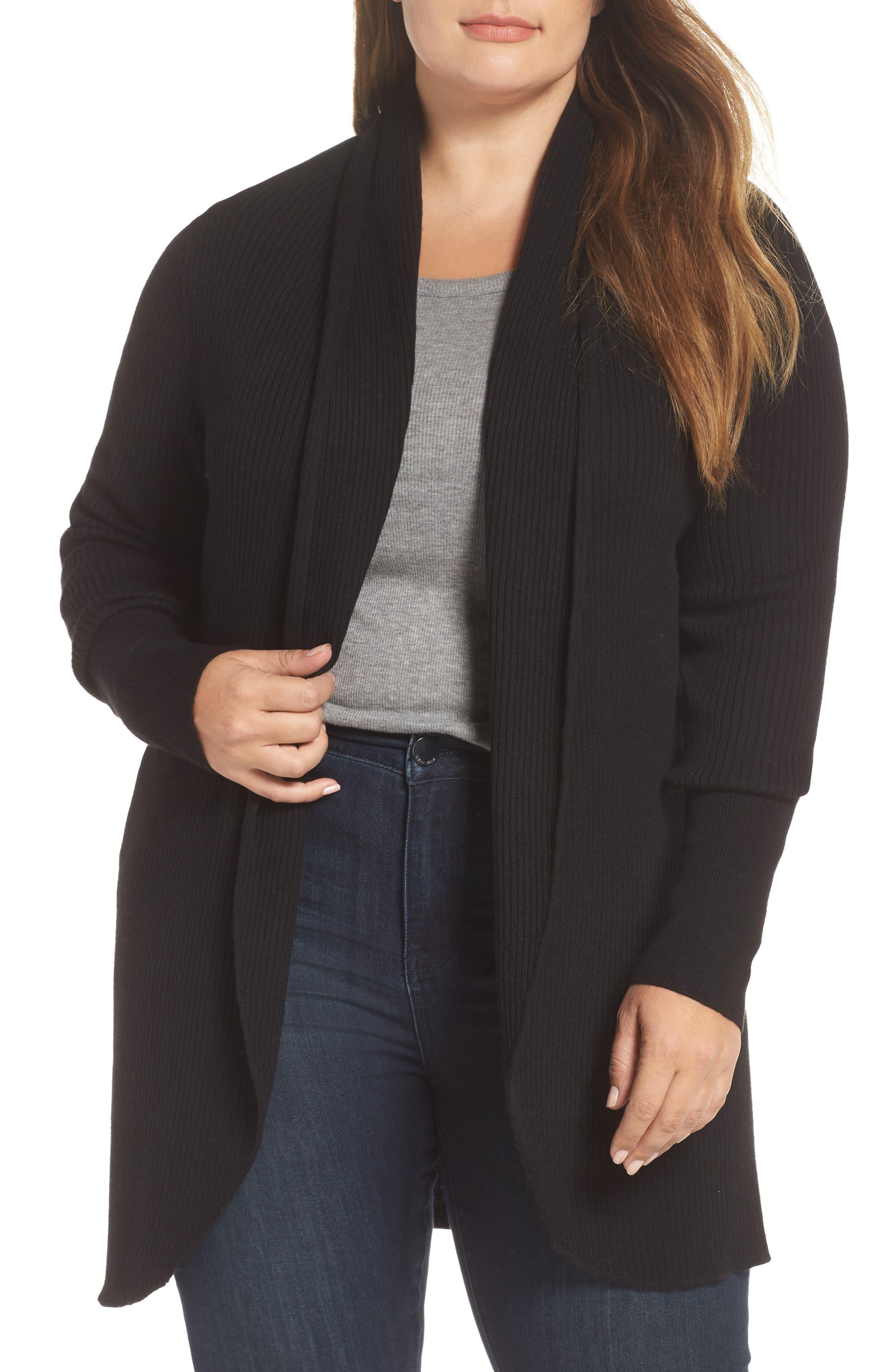 Ribbed Shawl Collar Cardigan,                         Main,                         color, BLACK
