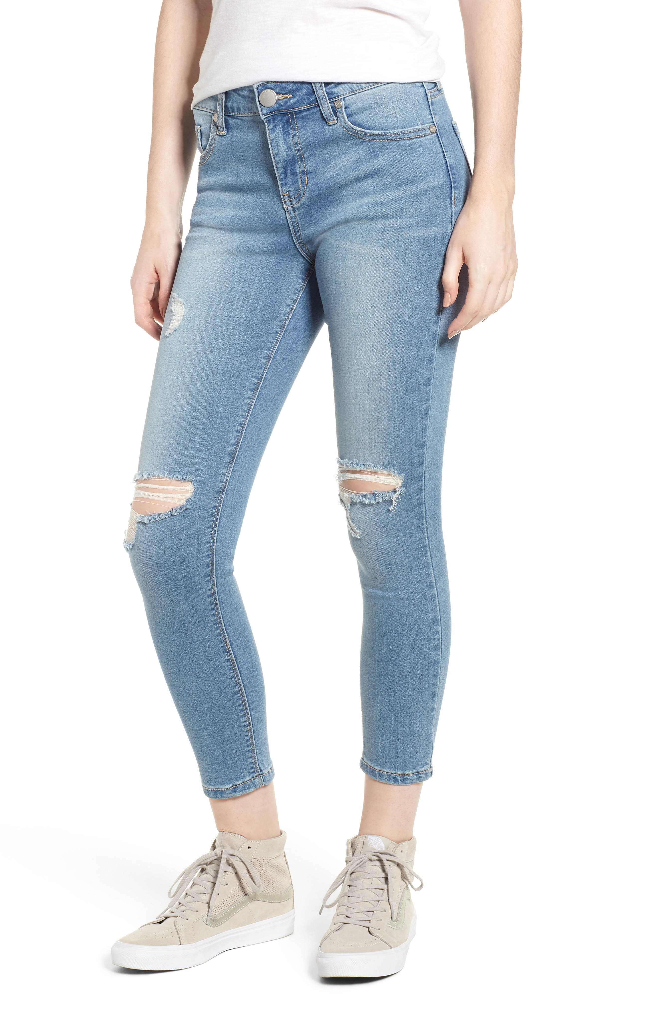 Ripped Crop Skinny Jeans,                             Main thumbnail 1, color,                             LUCAS