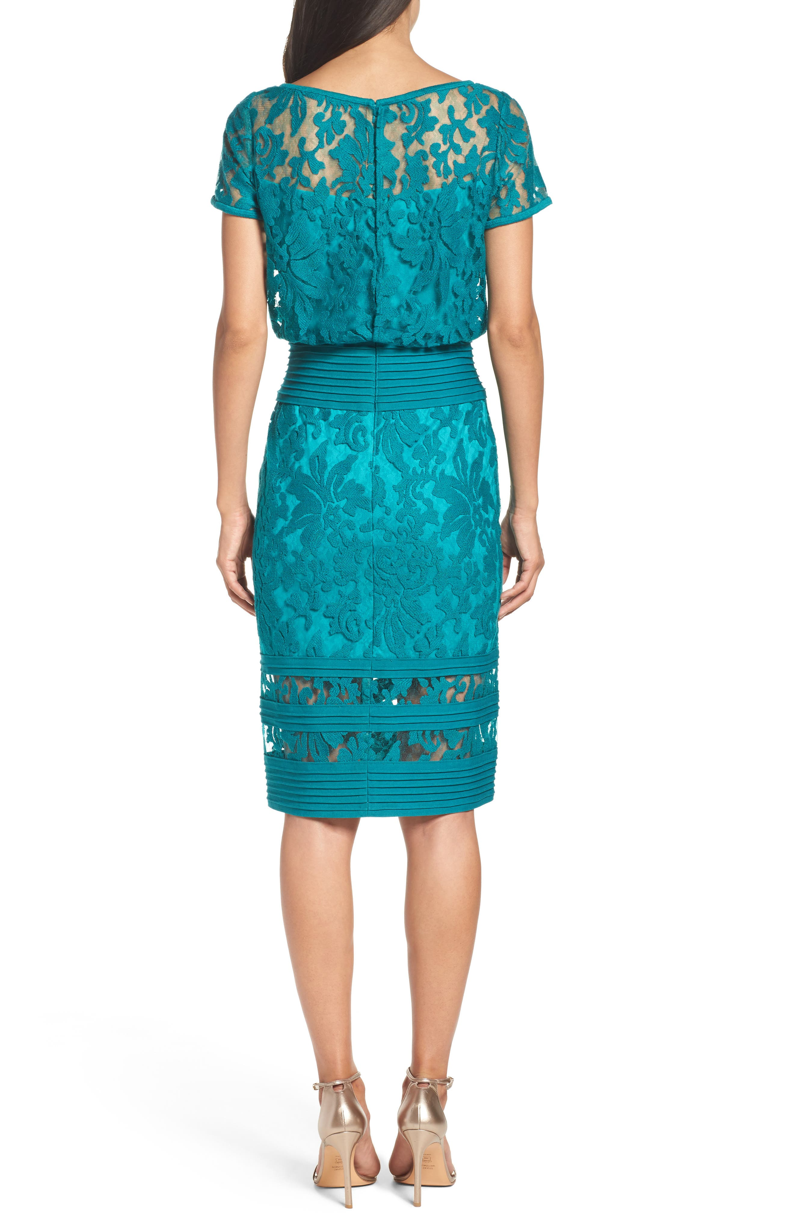 Embroidered Blouson Sheath Dress,                             Alternate thumbnail 2, color,                             400