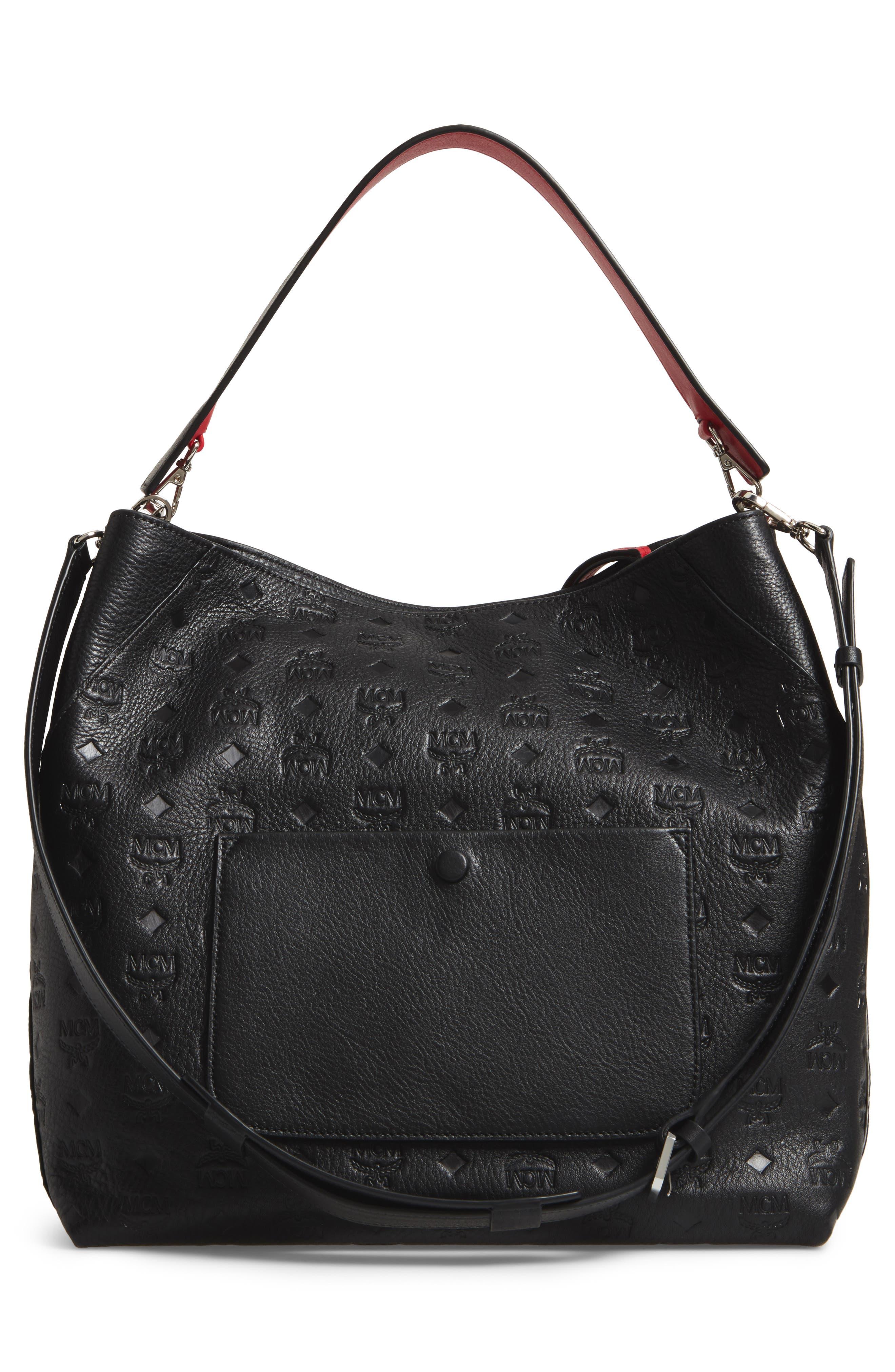 Klara Monogrammed Leather Hobo Bag,                             Alternate thumbnail 3, color,                             BLACK