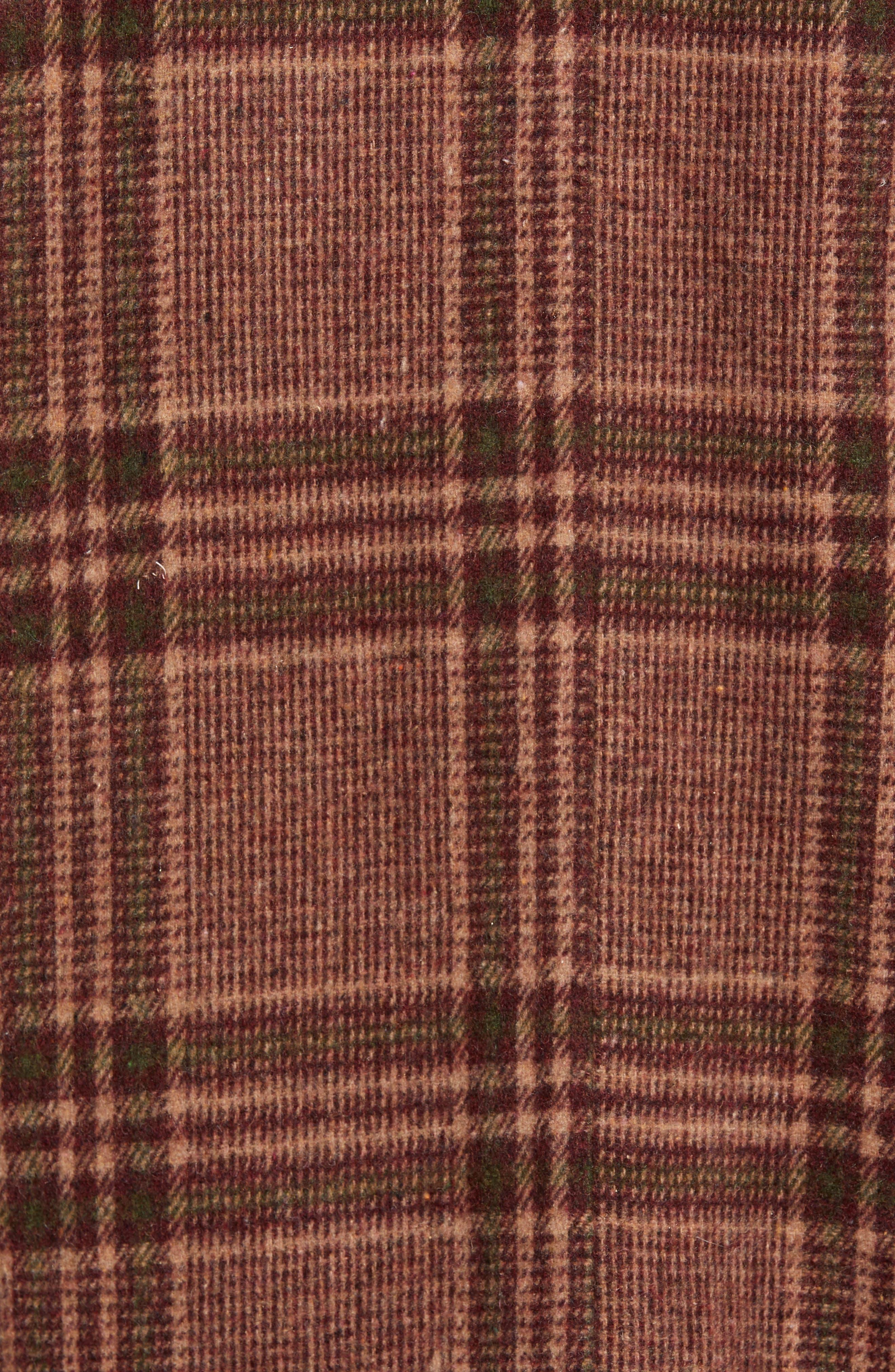 Faux Shearling Trim Plaid Jacket,                             Alternate thumbnail 7, color,                             BROWN PLAID