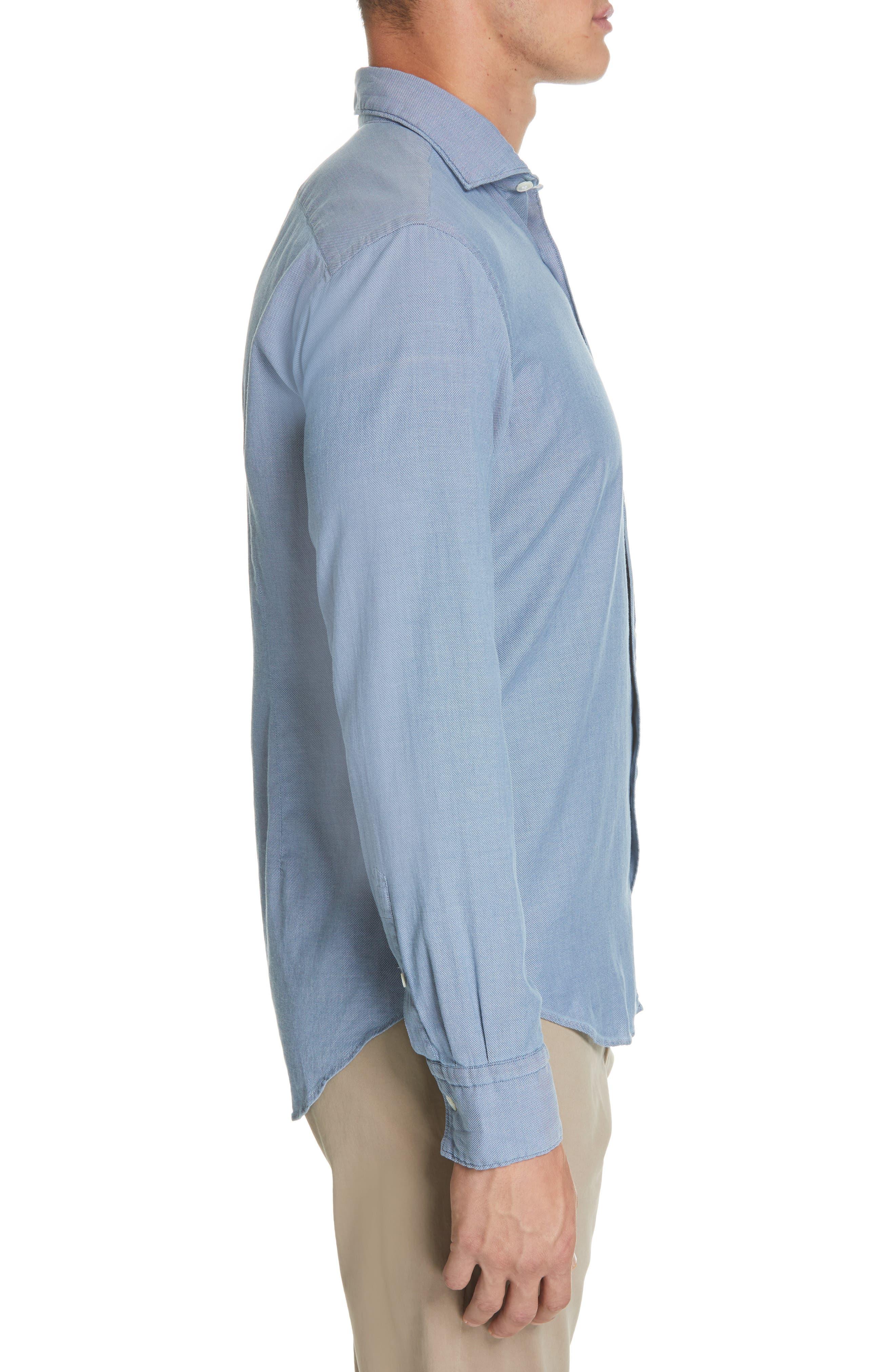 ELEVENTY,                             Trim Fit Stretch Solid Sport Shirt,                             Alternate thumbnail 4, color,                             DENIM