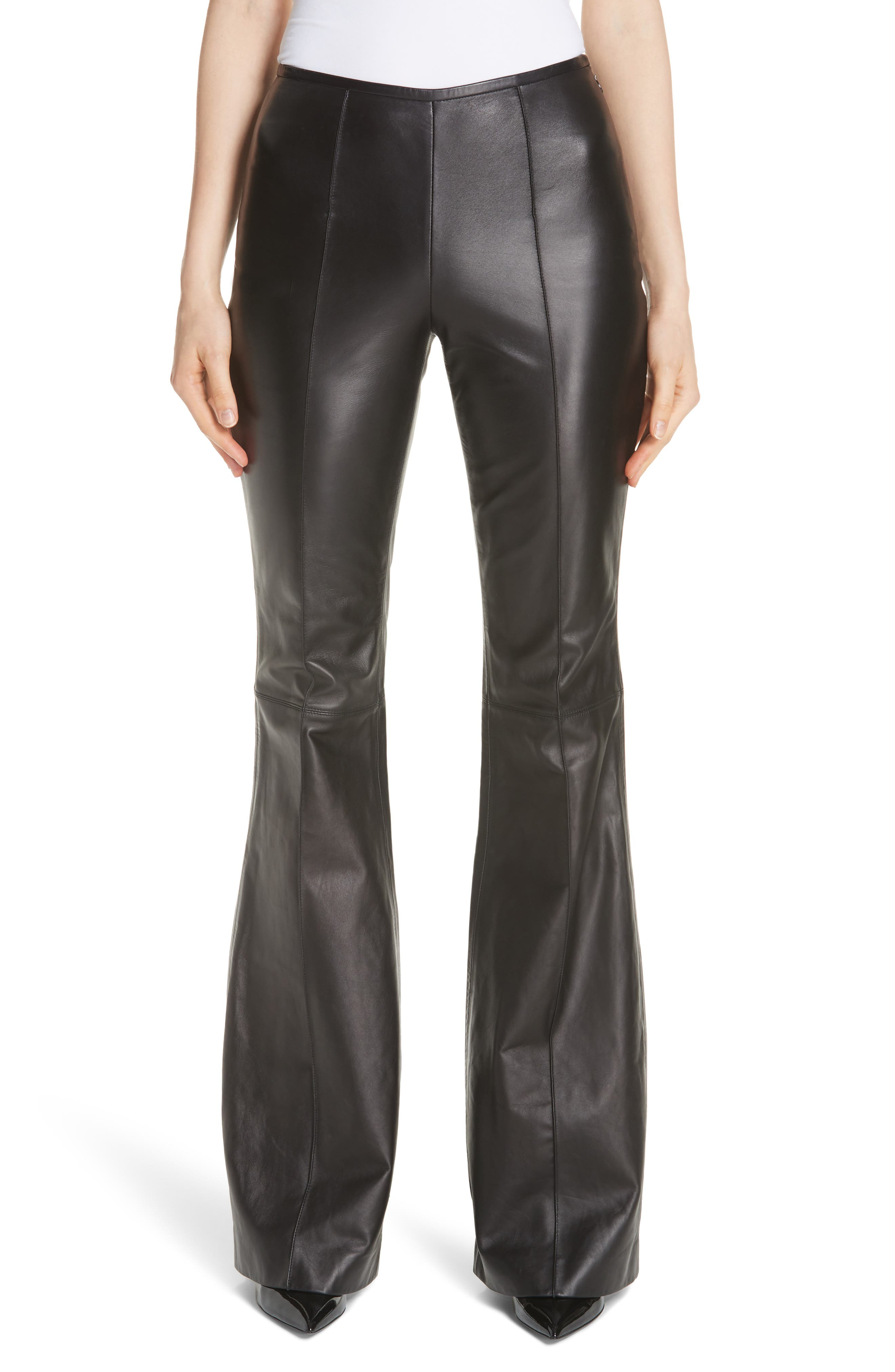 Michael Kors Leather Flare Pants, Black