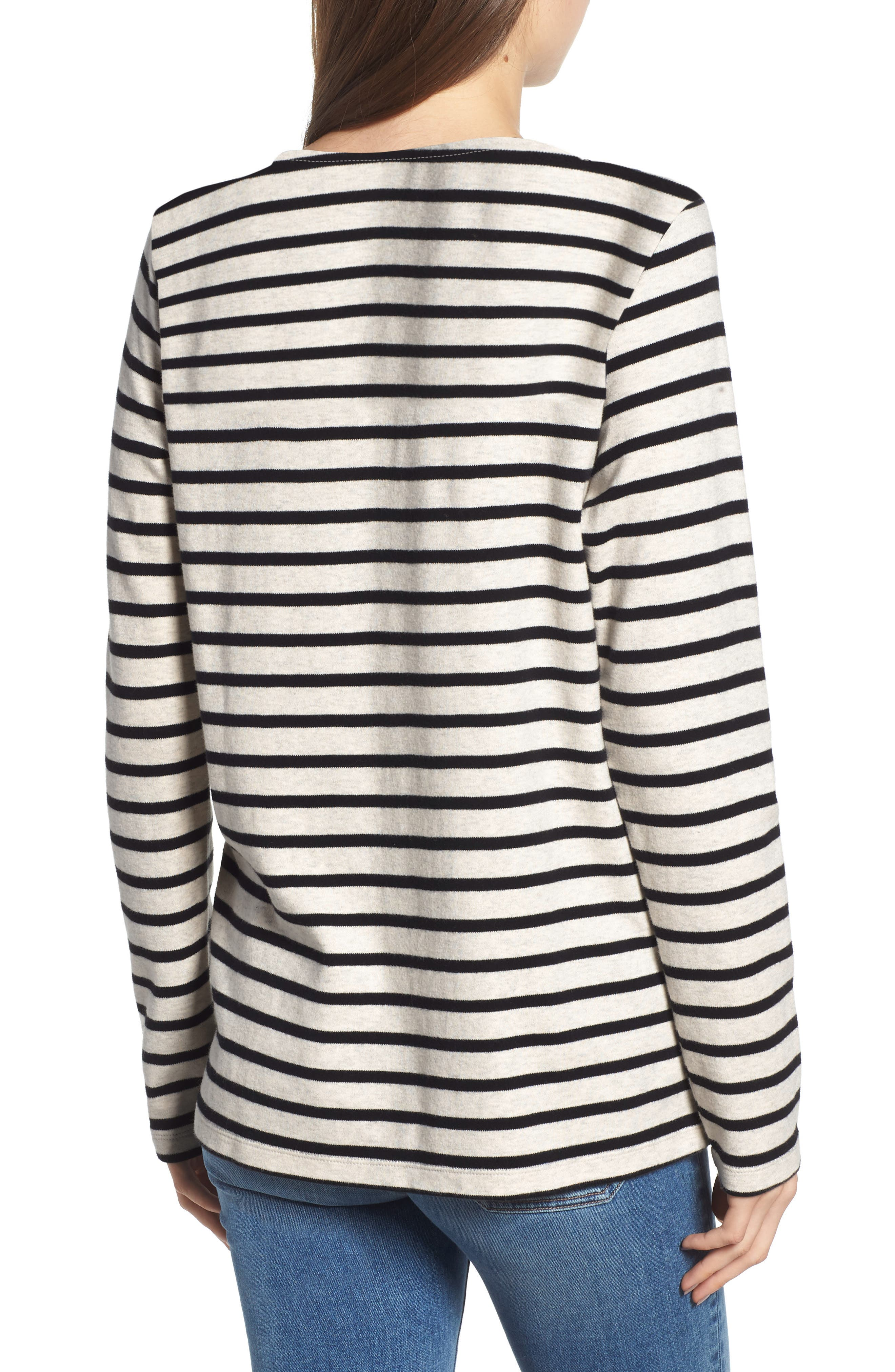 Breton Stripe Long Sleeve Tee,                             Alternate thumbnail 2, color,                             BLACK/ WHITE STRIPE