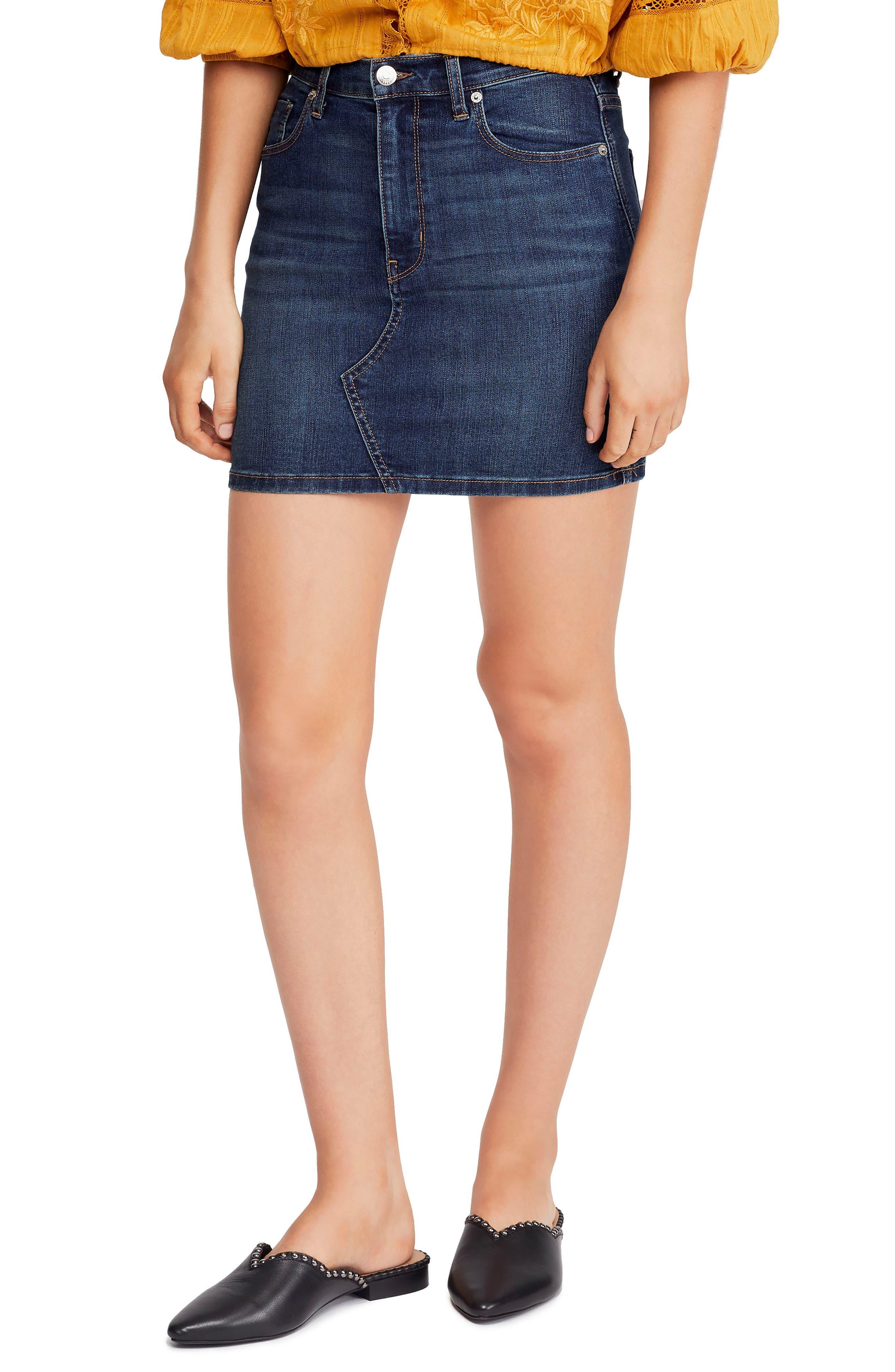 Teagan Denim Miniskirt, Main, color, DARK DENIM