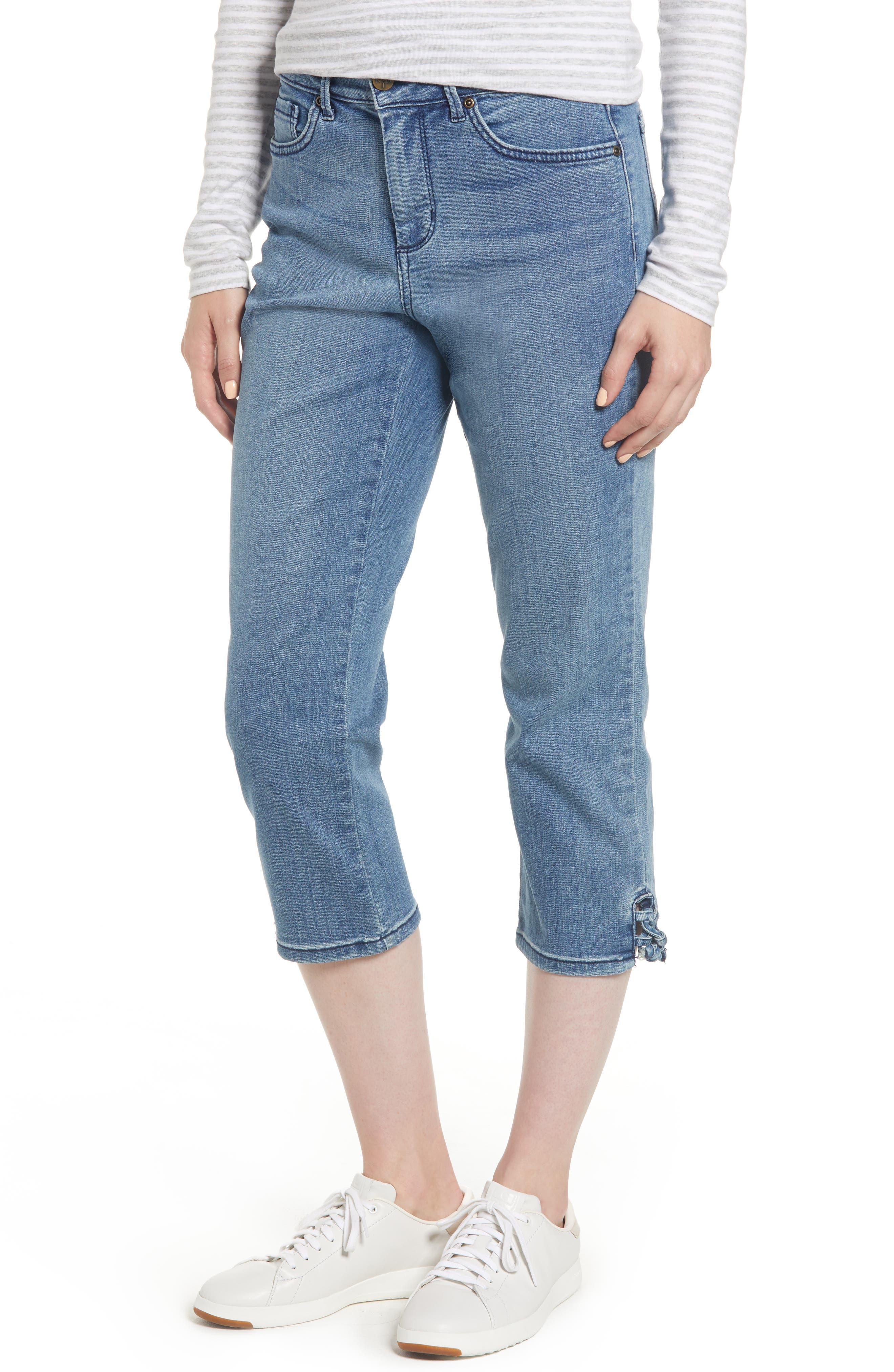 High Waist Lace Up Hem Capri Jeans,                         Main,                         color, 417