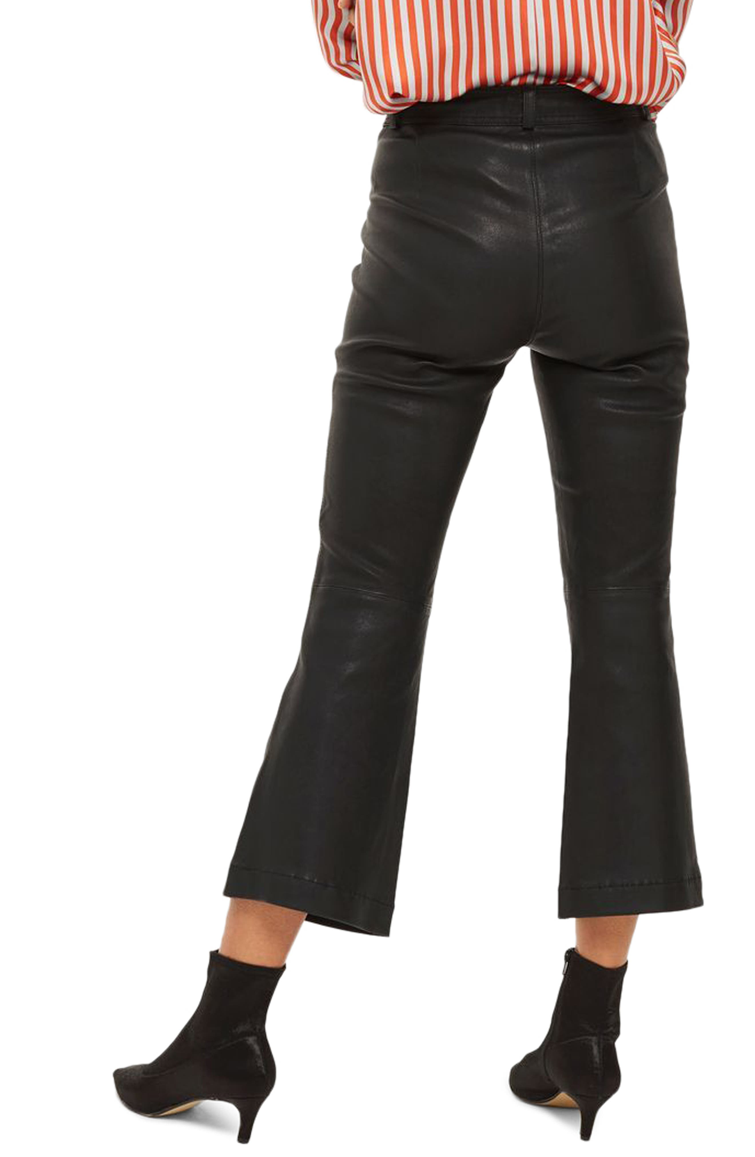Premium Kick Flare Crop Leather Pants,                             Alternate thumbnail 2, color,