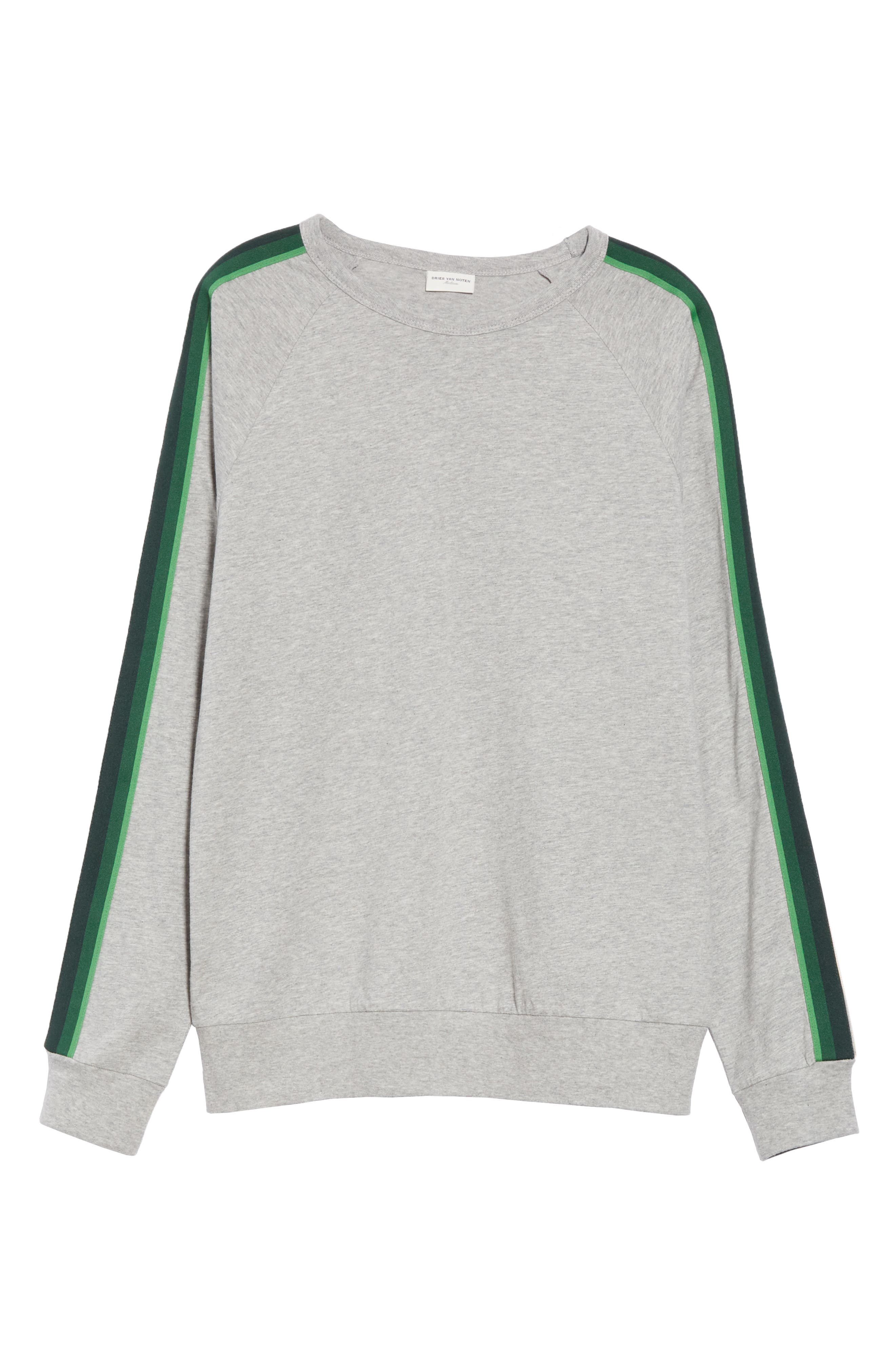 Hoyt Stripe Sleeve Sweatshirt,                             Alternate thumbnail 6, color,                             GREY MELANGE