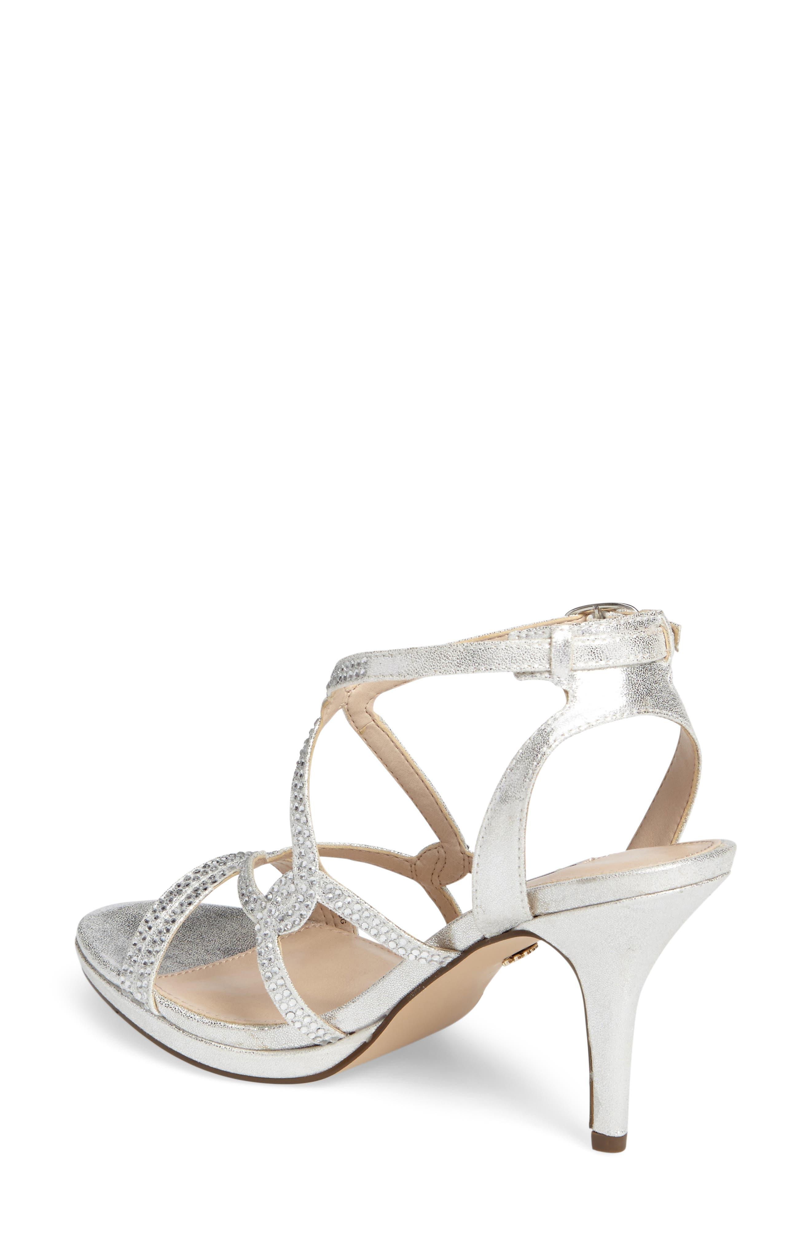 Varsha Crystal Embellished Evening Sandal,                             Alternate thumbnail 3, color,                             SILVER FAUX SUEDE