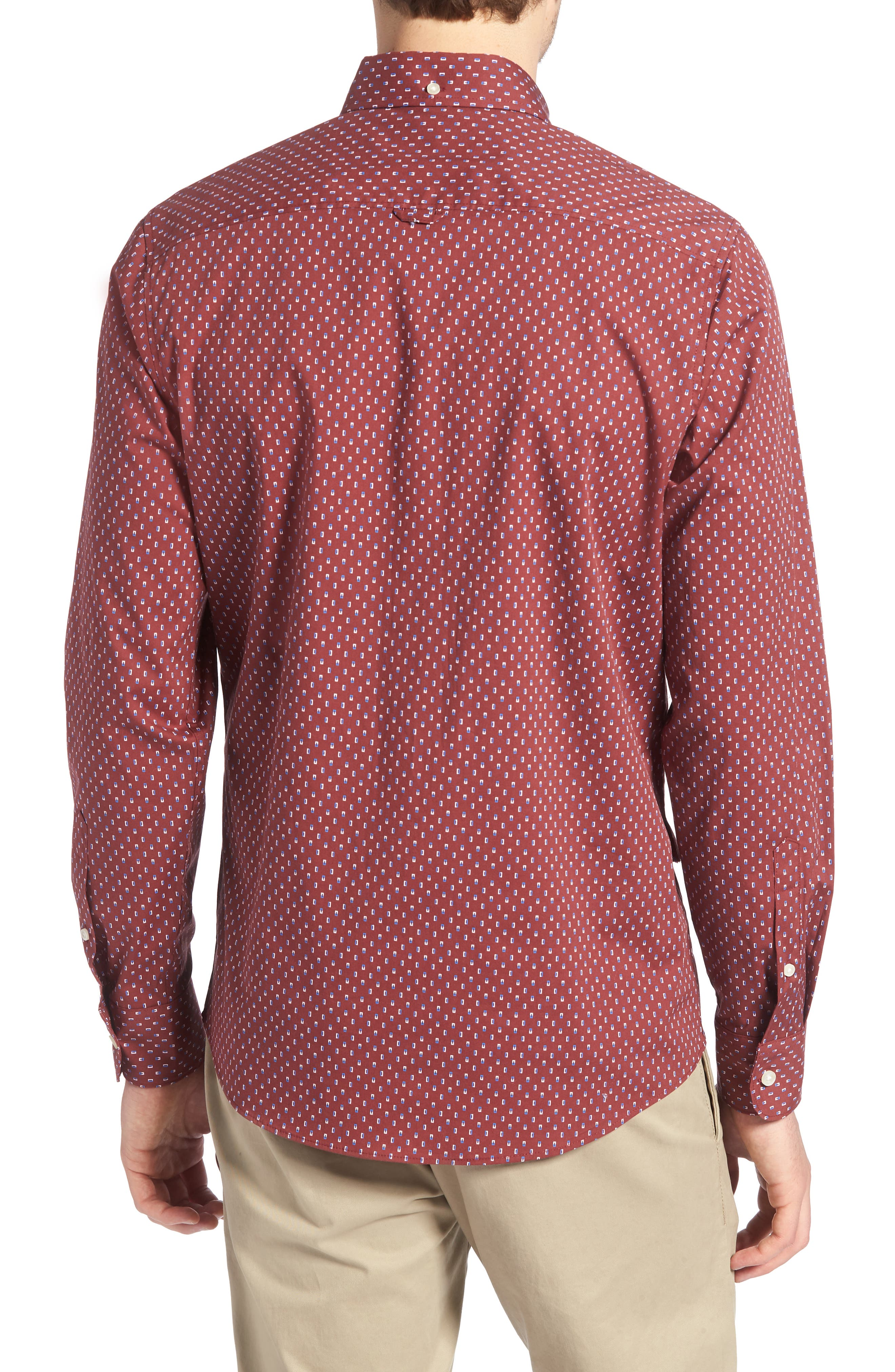 Trim Fit Box Print Sport Shirt,                             Alternate thumbnail 2, color,