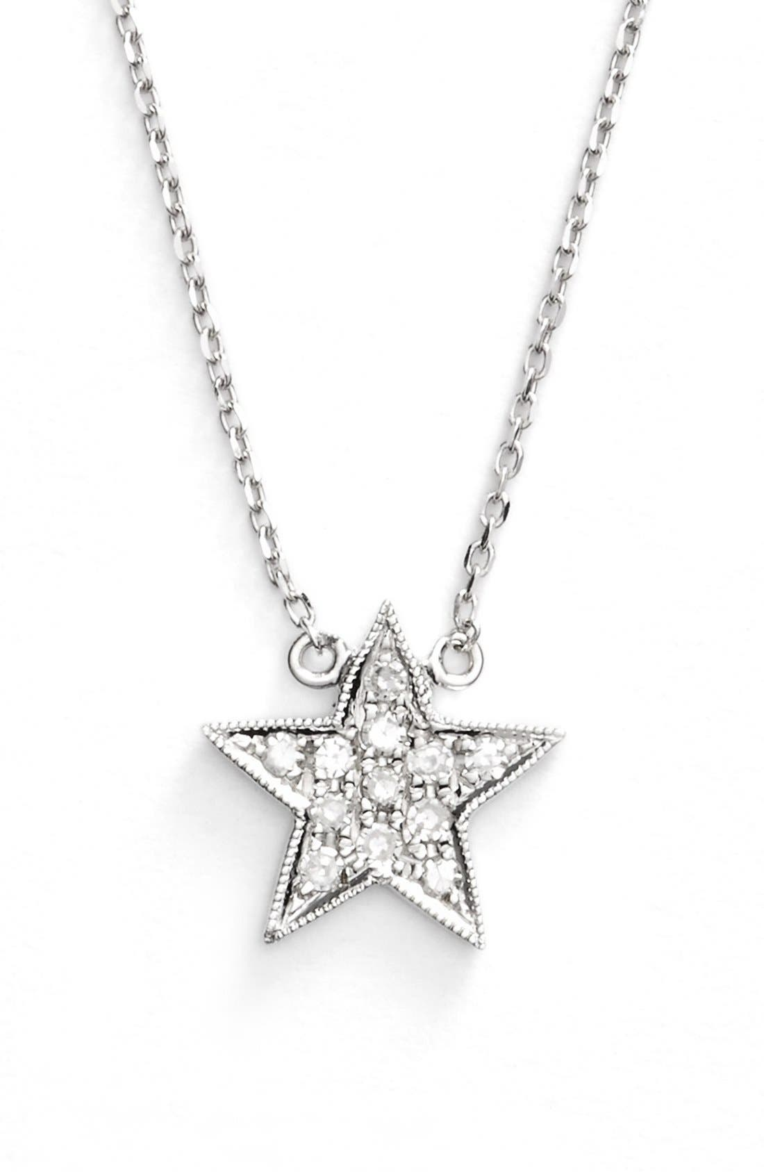 'Julianne Himiko' Diamond Star Pendant Necklace,                             Main thumbnail 1, color,                             WHITE GOLD