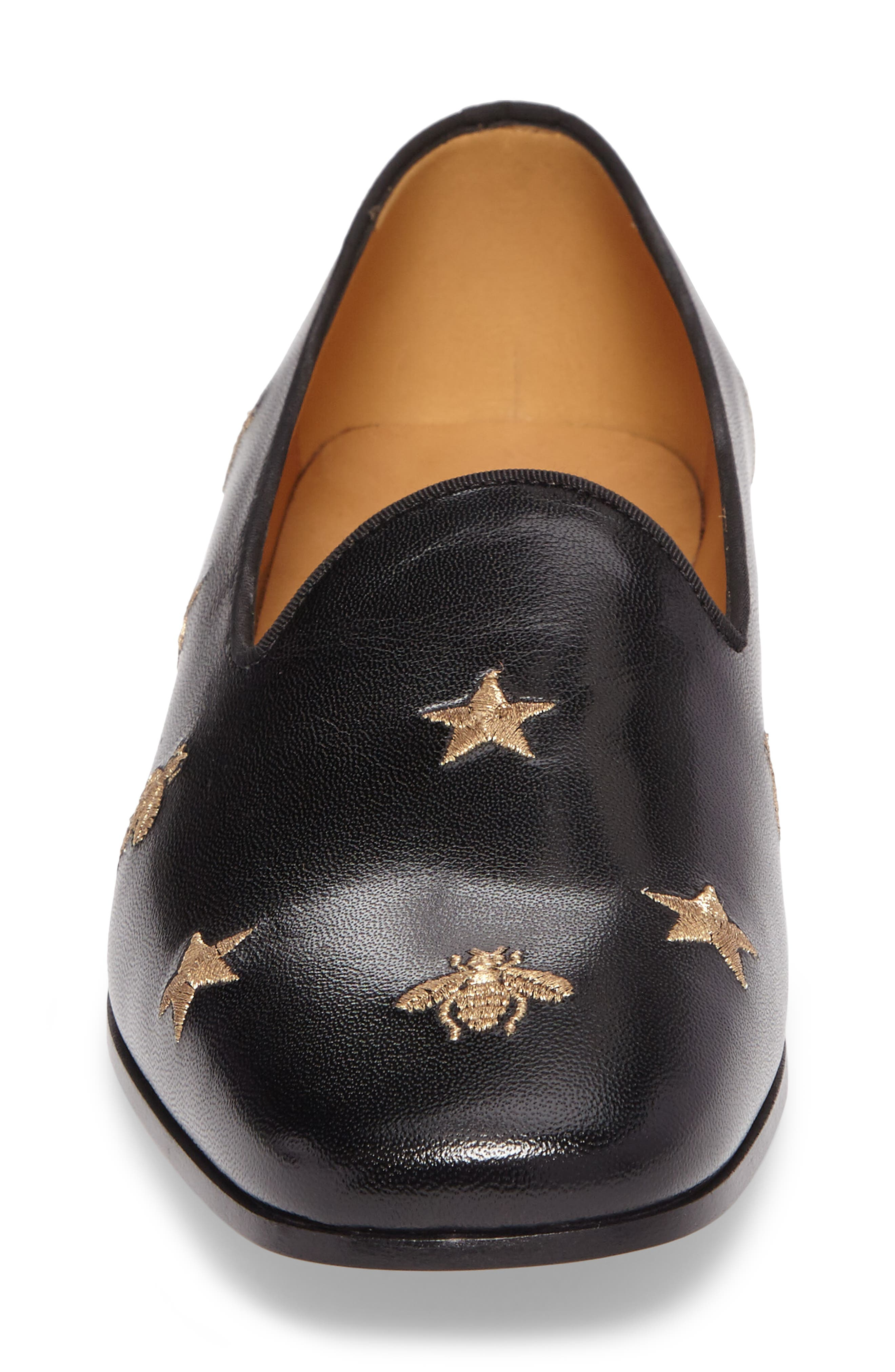 Embroidered Leather Loafer,                             Alternate thumbnail 4, color,                             001