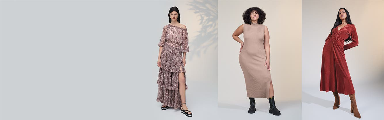A woman wearing printed tiered maxi dress; a woman wearing a beige midi dress; a woman wearing a rust-colored maxi dress.