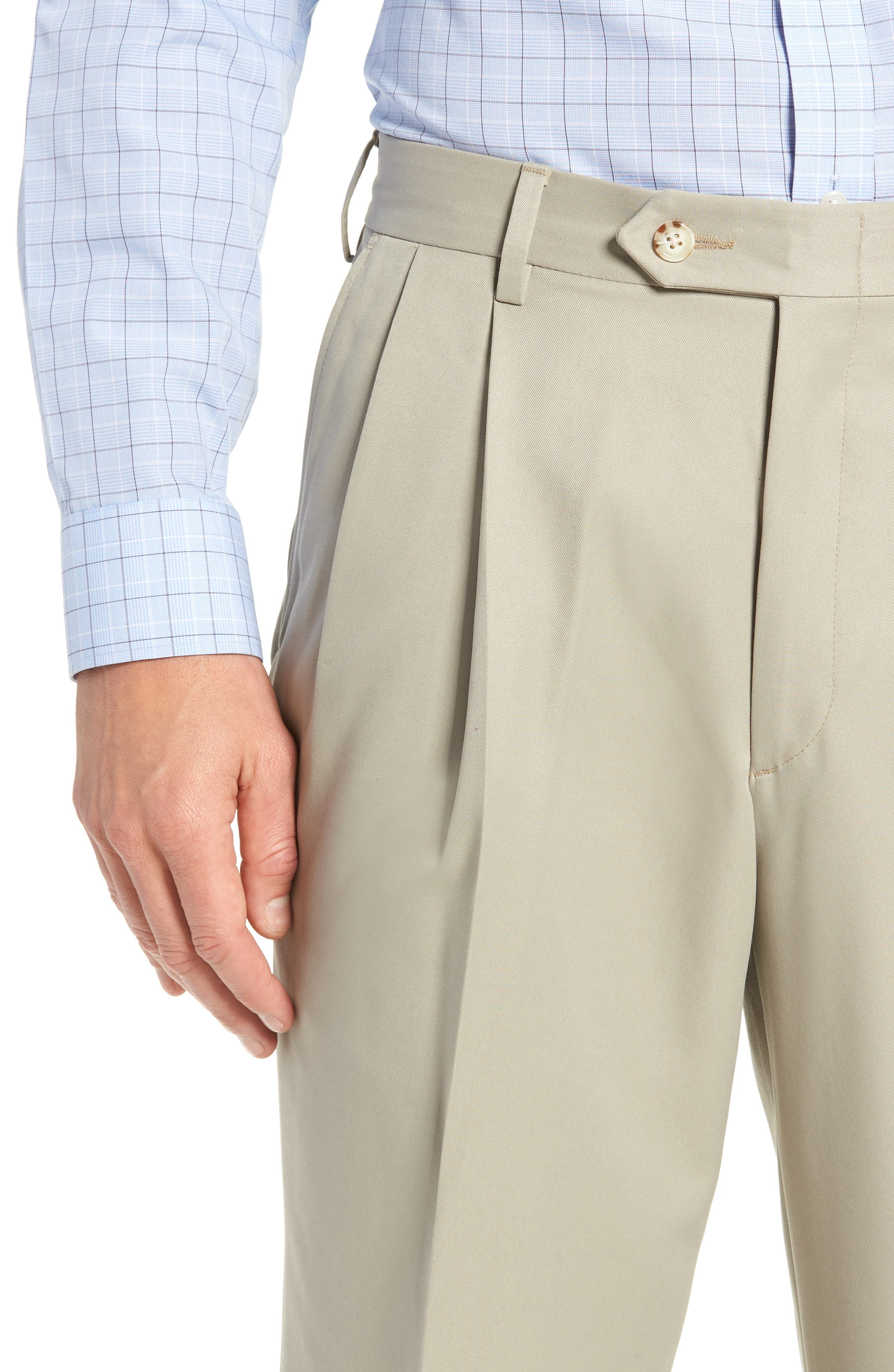 Classic Fit Pleated Microfiber Performance Trousers,                             Alternate thumbnail 4, color,                             TAUPE