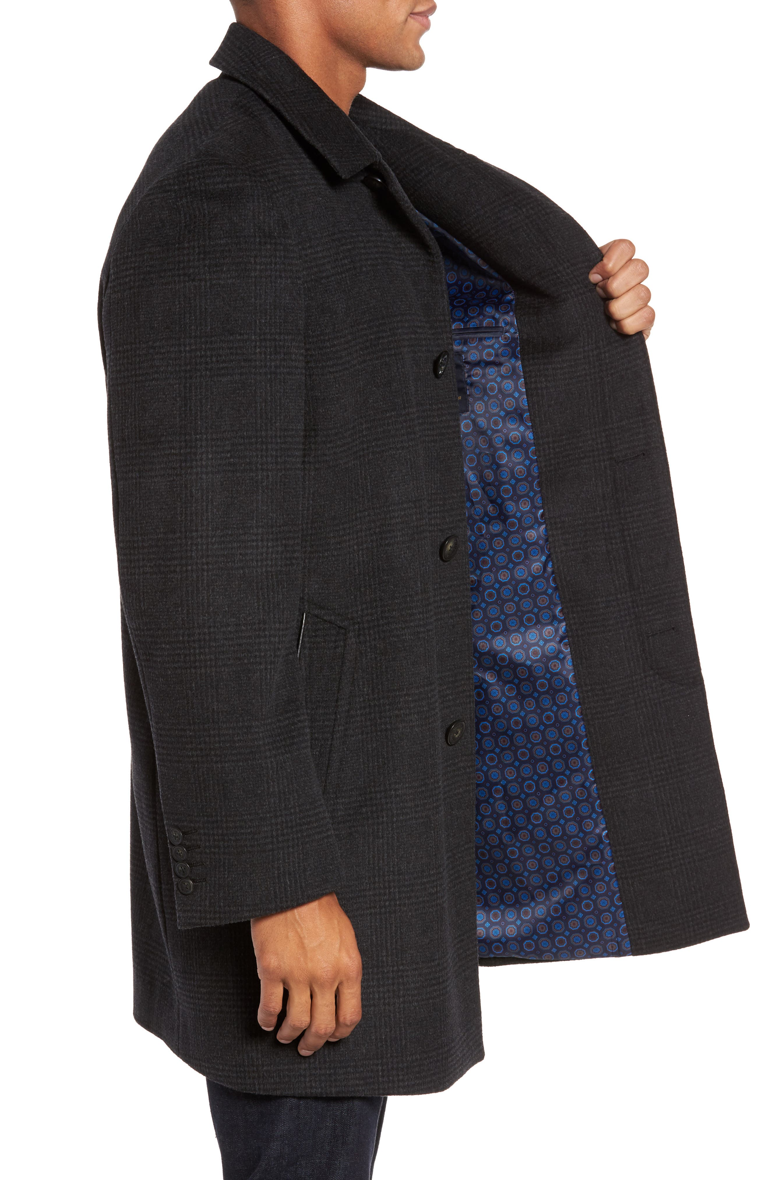 Turner Plaid Wool Blend Topcoat,                             Alternate thumbnail 3, color,                             011