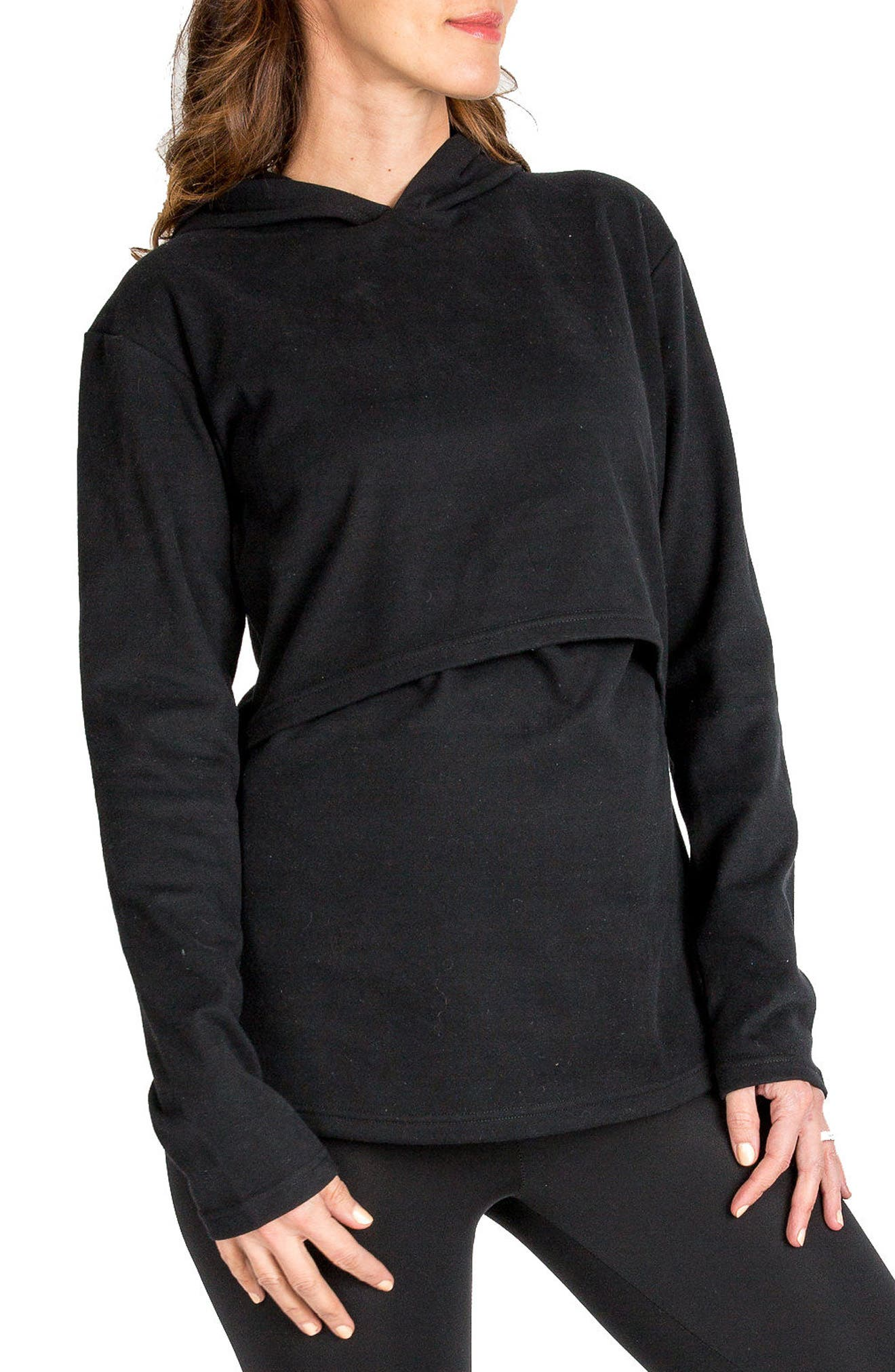 Rory Maternity/Nursing Hoodie,                             Alternate thumbnail 4, color,                             BLACK