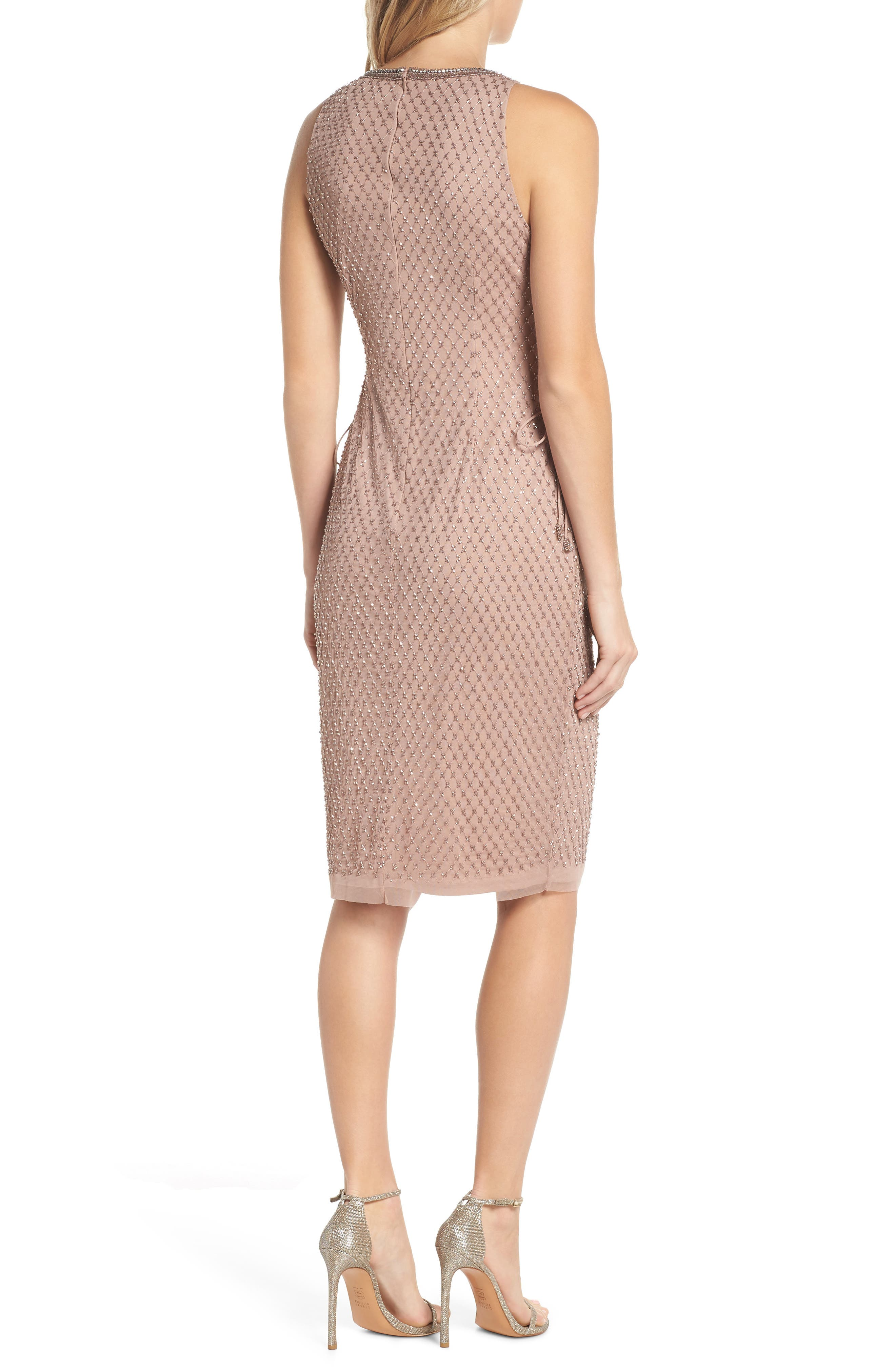 Beaded Lace-Up Dress,                             Alternate thumbnail 2, color,                             220