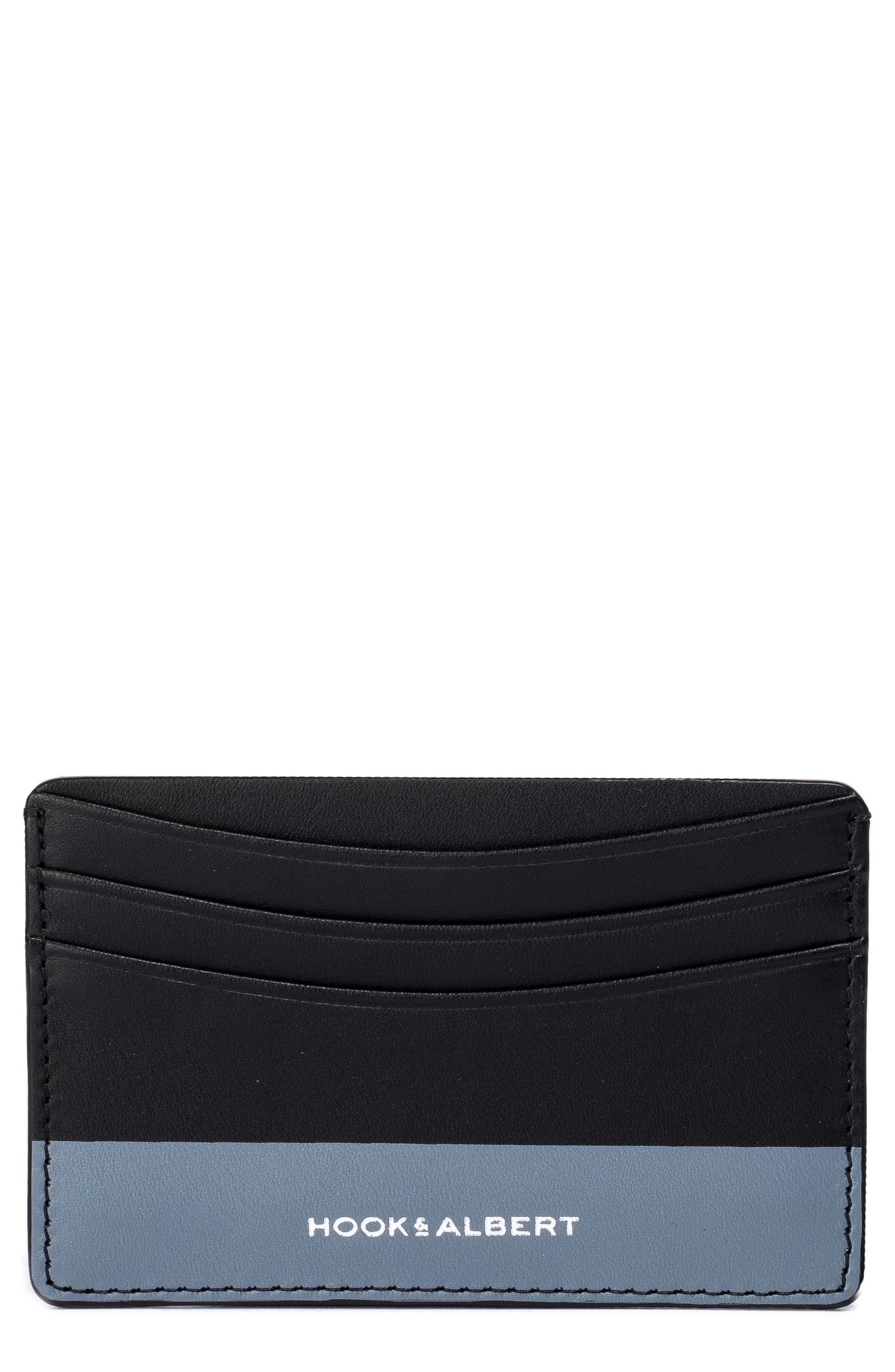 Leather Card Case,                         Main,                         color, GREY