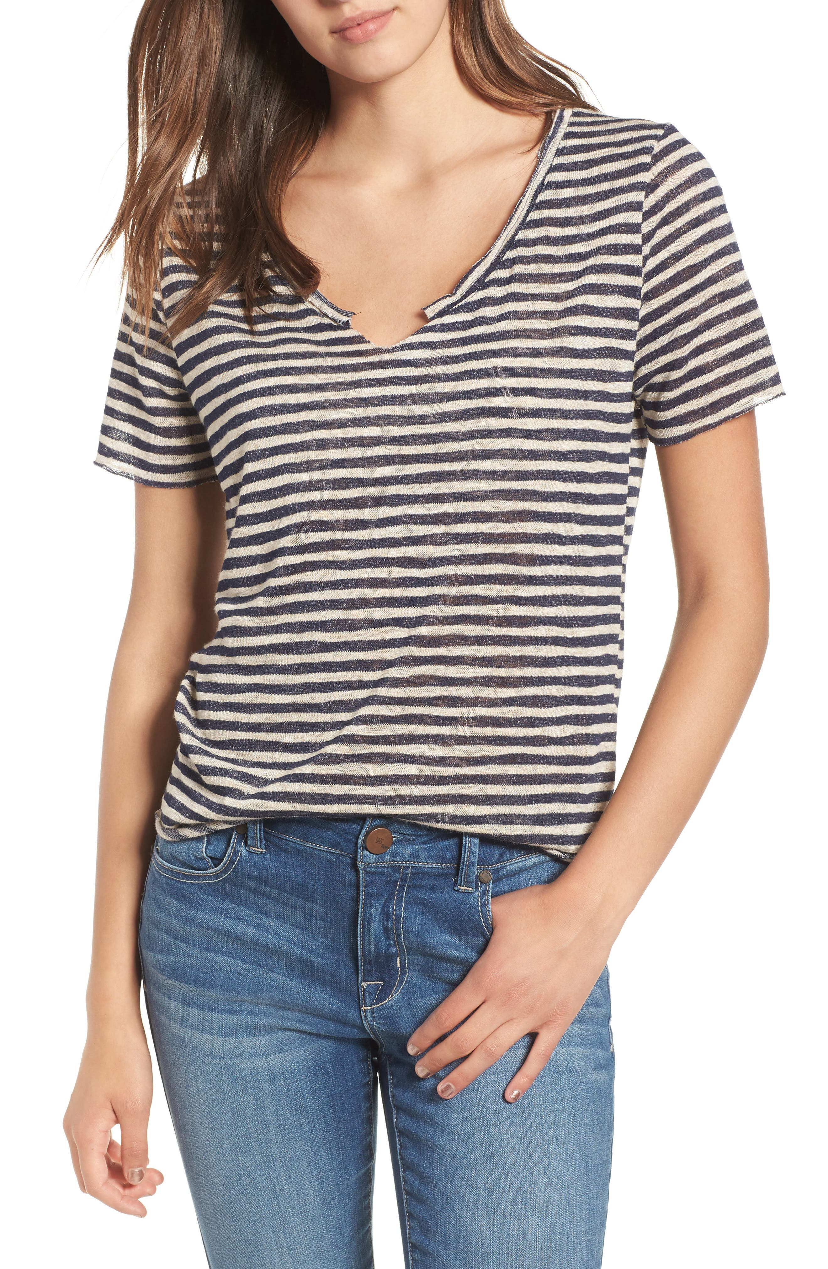 Suzie Stripe Tee,                         Main,                         color, NAVY/ OATMEAL