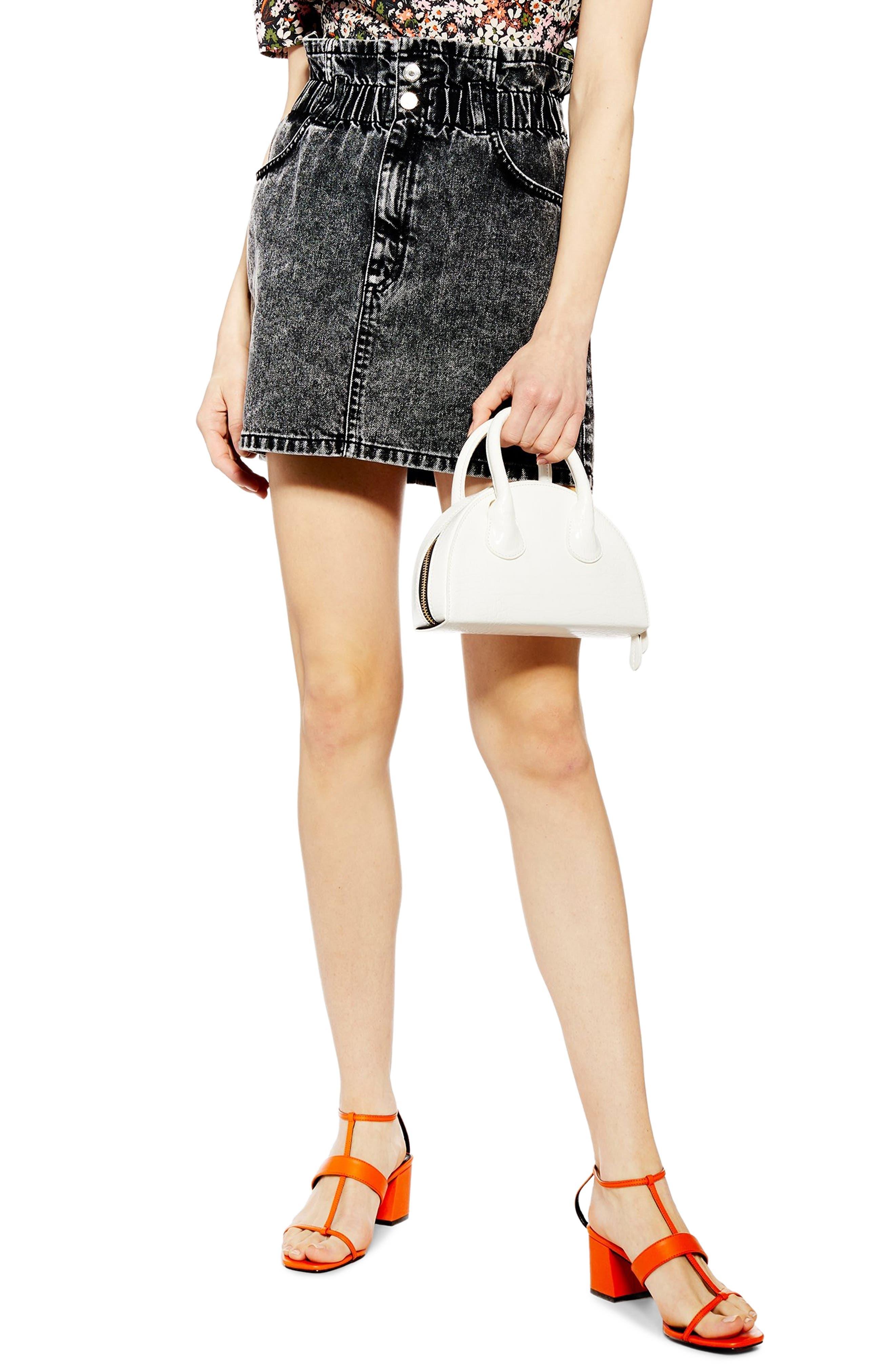 Topshop Acid Wash Paperbag Waist Denim Skirt, US (fits like 6-8) - Black