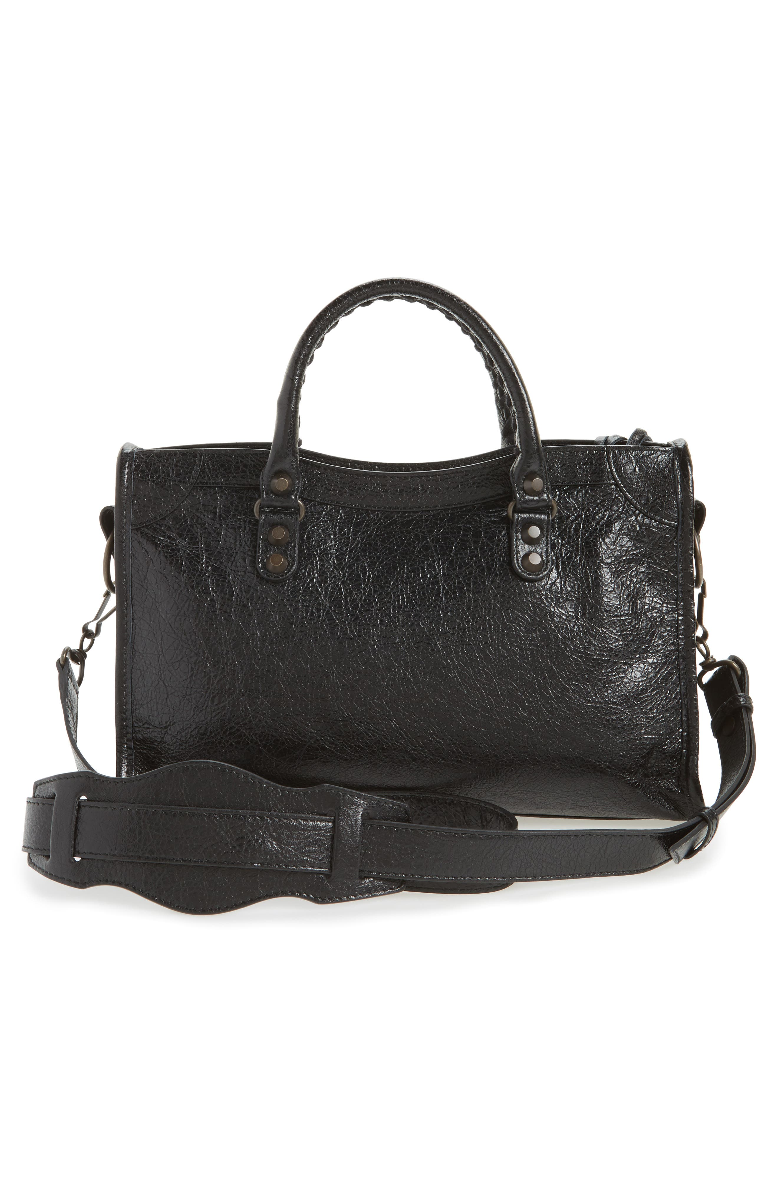 Small Classic City Leather Tote,                             Alternate thumbnail 3, color,                             1000 NOIR